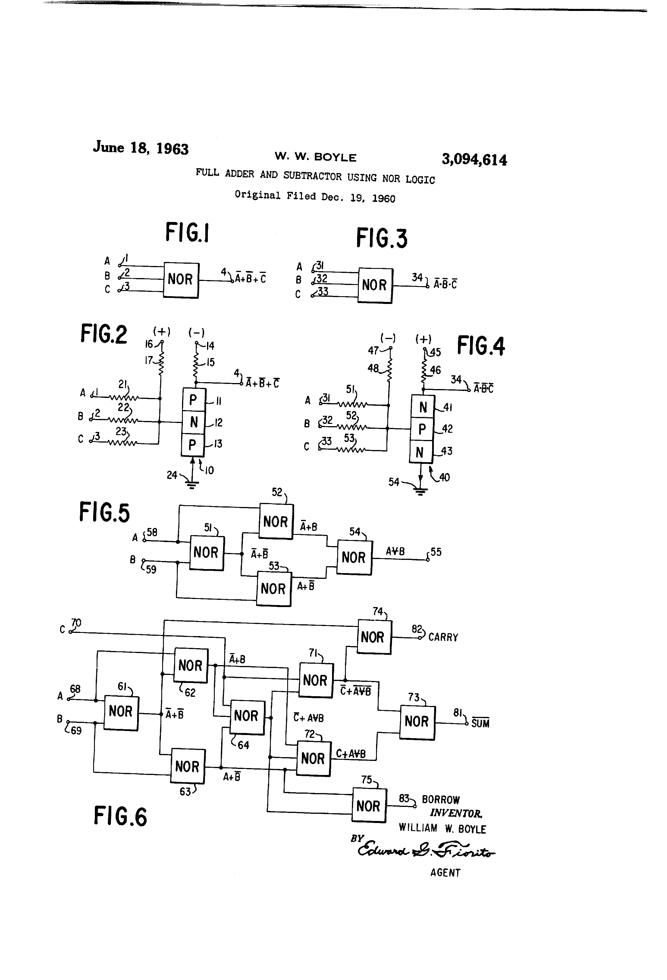 Circuit Diagram Of Half Subtractor Using Nand Gate Electrical Circuits Patent Us3094614 Full Adder And Nor Logic