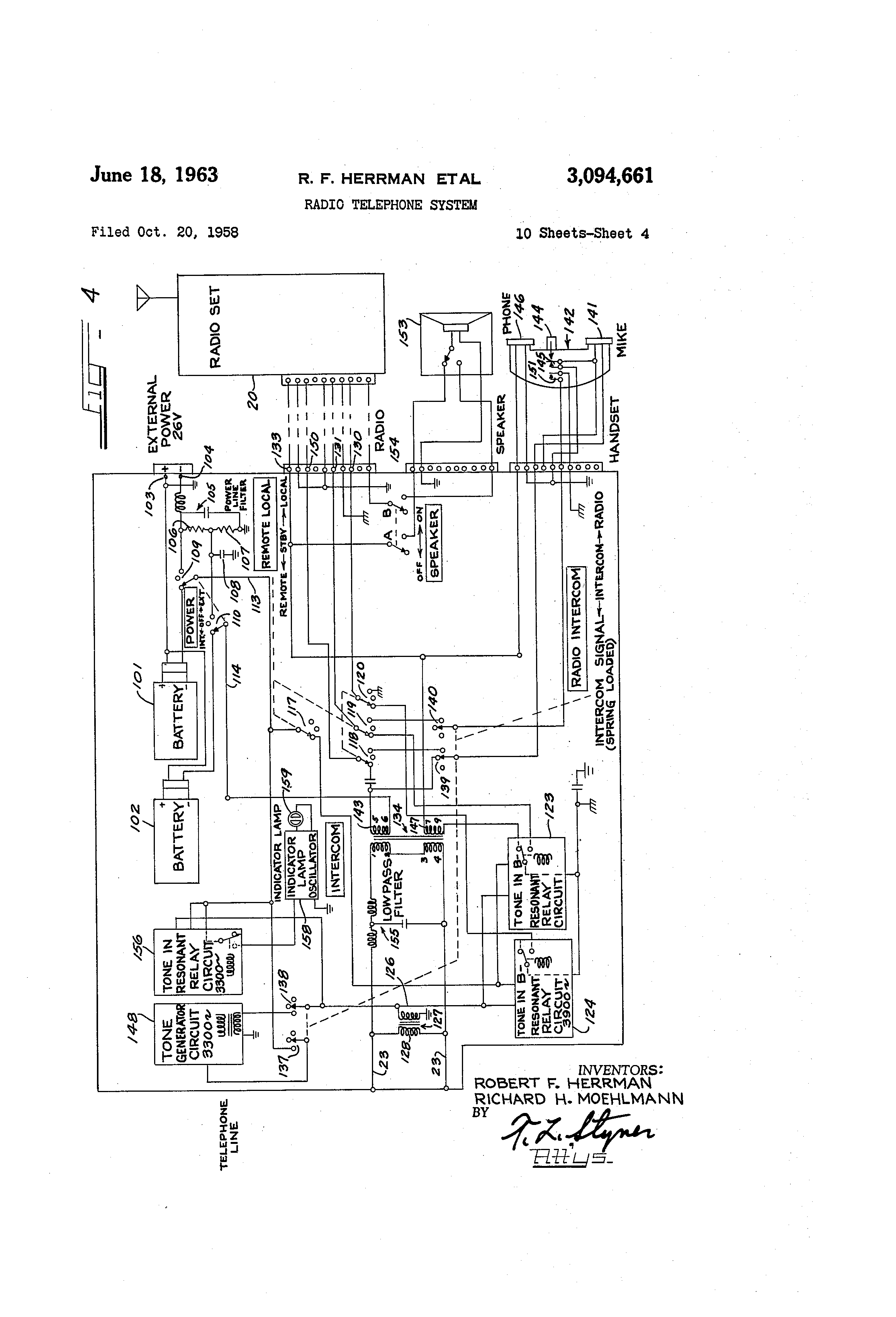 Patent Us3094661 Radio Telephone System Google Patents Status Indicator Circuit Drawing