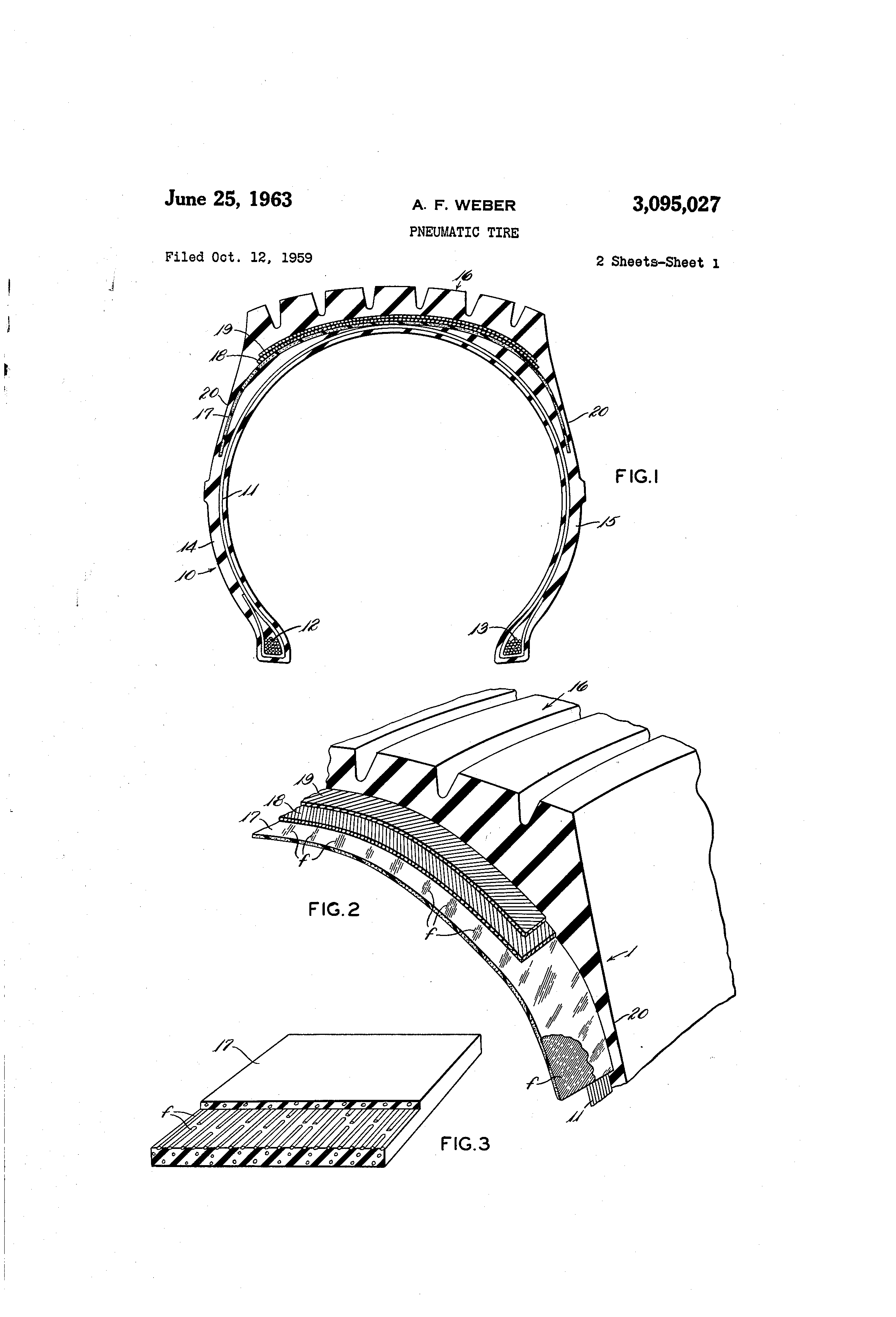 patent us3095027 pneumatic tire patents Bicycle Tire Diagram patent drawing