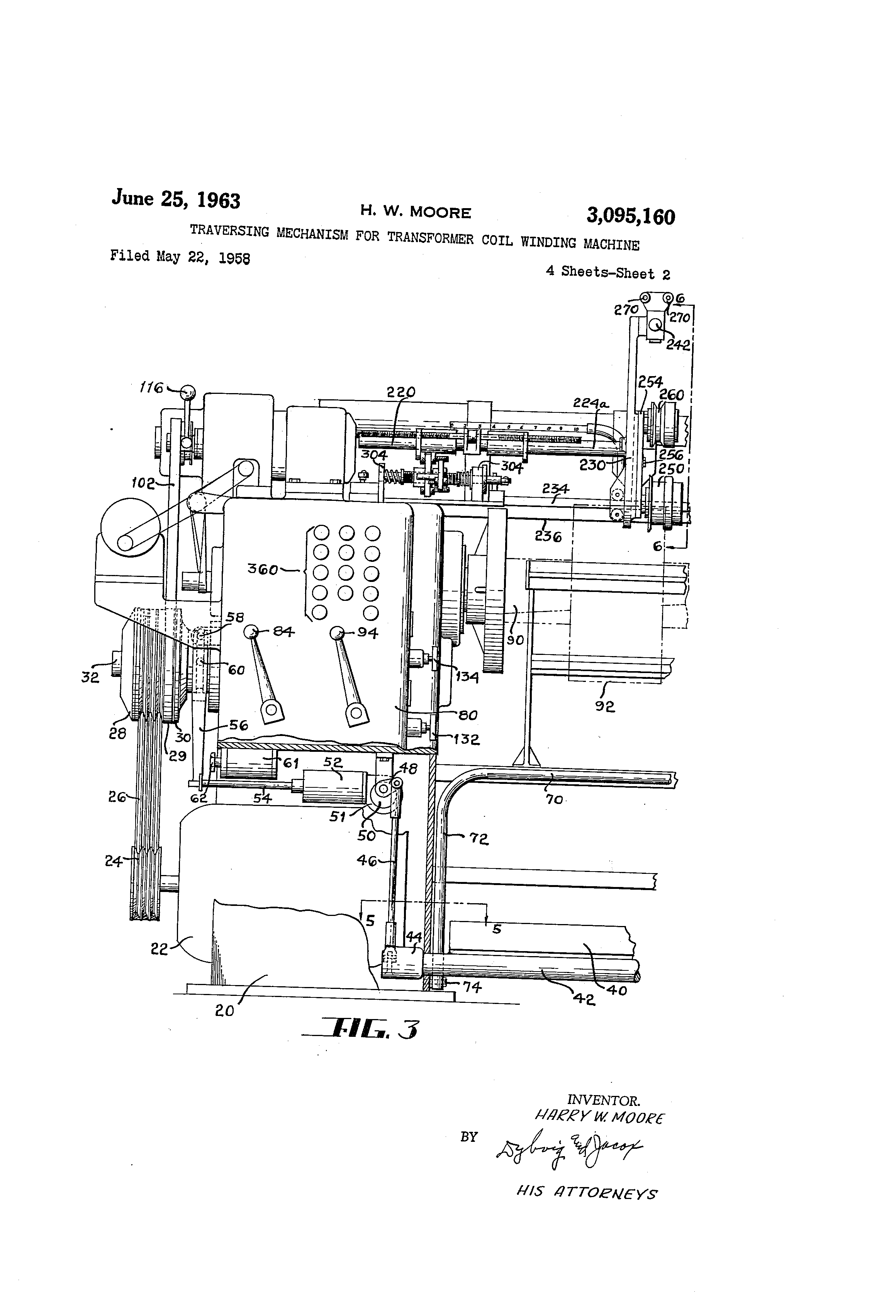 patent us3095160 - traversing mechanism for transformer coil winding machine