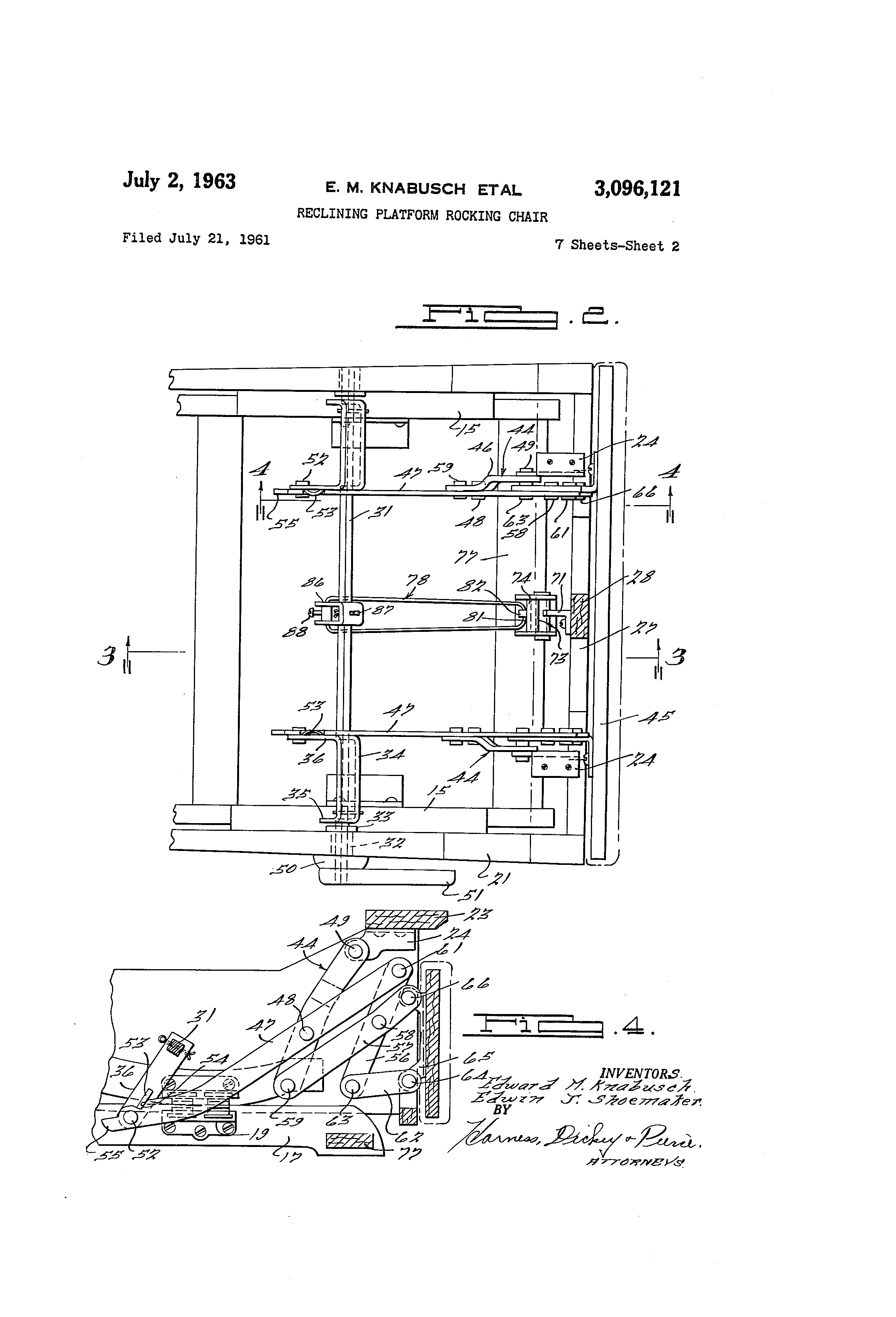 Wonderful image of Patent US3096121 Reclining platform rocking chair   Patents with #494949 color and 2320x3408 pixels