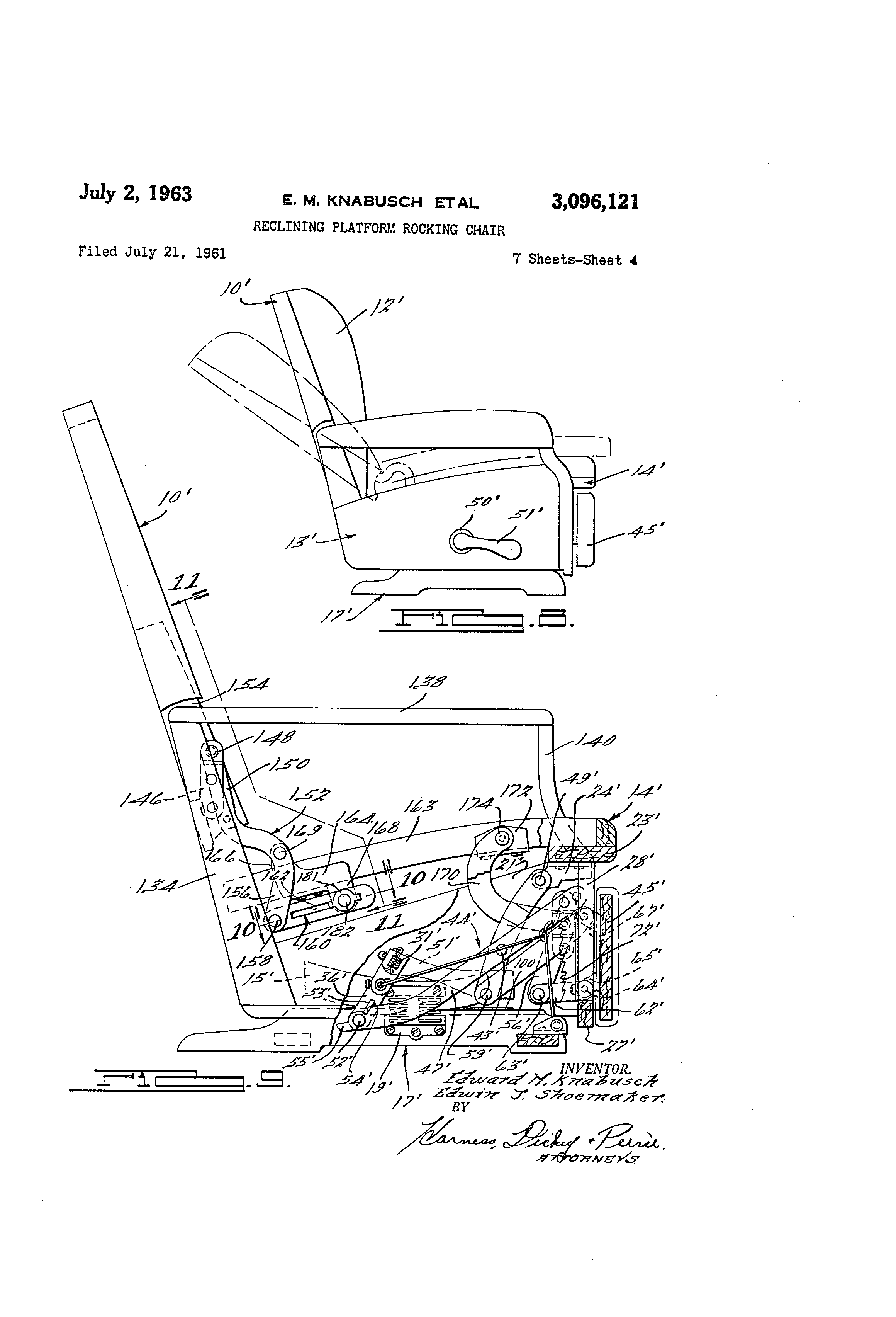 Patent Us3096121 Reclining Platform Rocking Chair