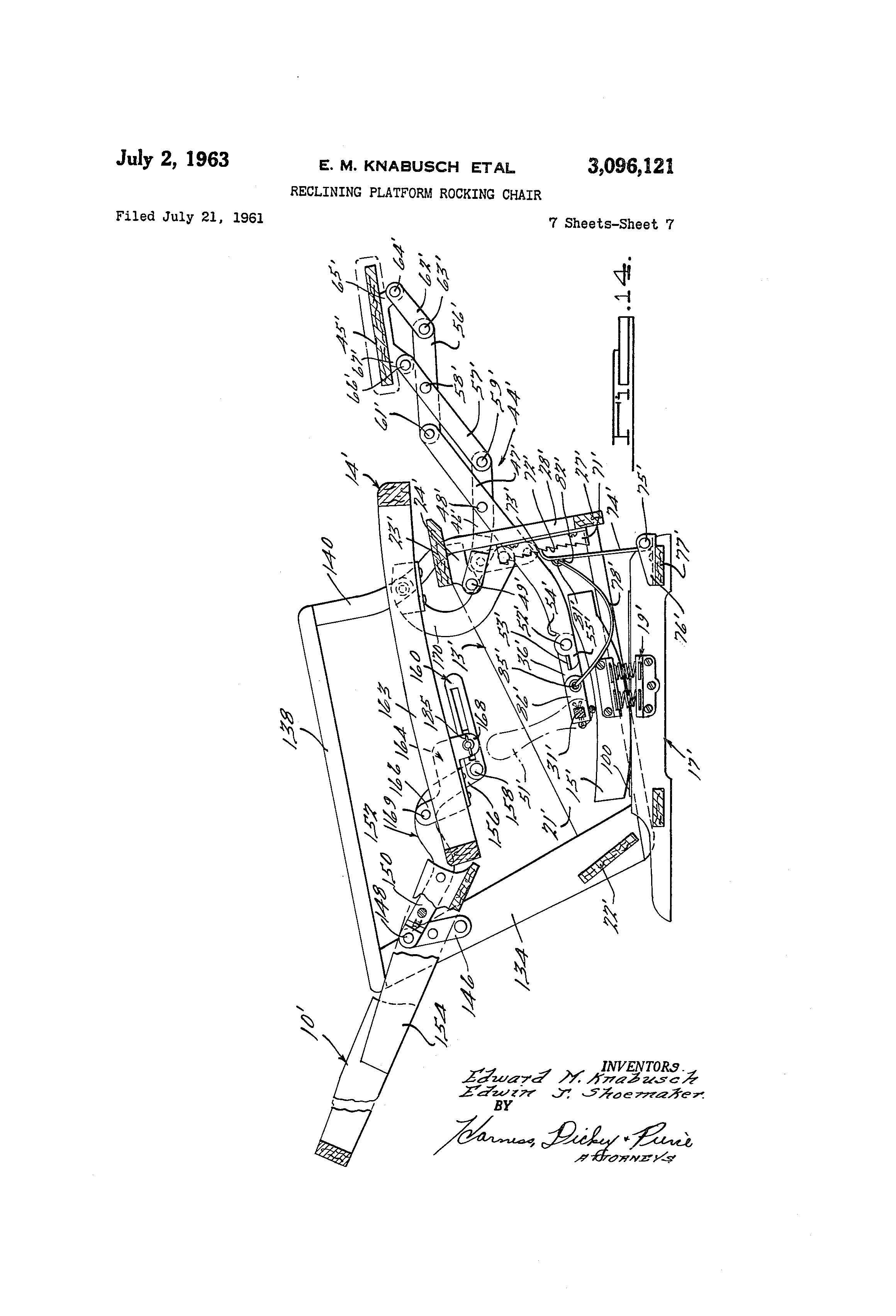 Wonderful image of Patent US3096121 Reclining platform rocking chair   Patents with #434343 color and 2320x3408 pixels