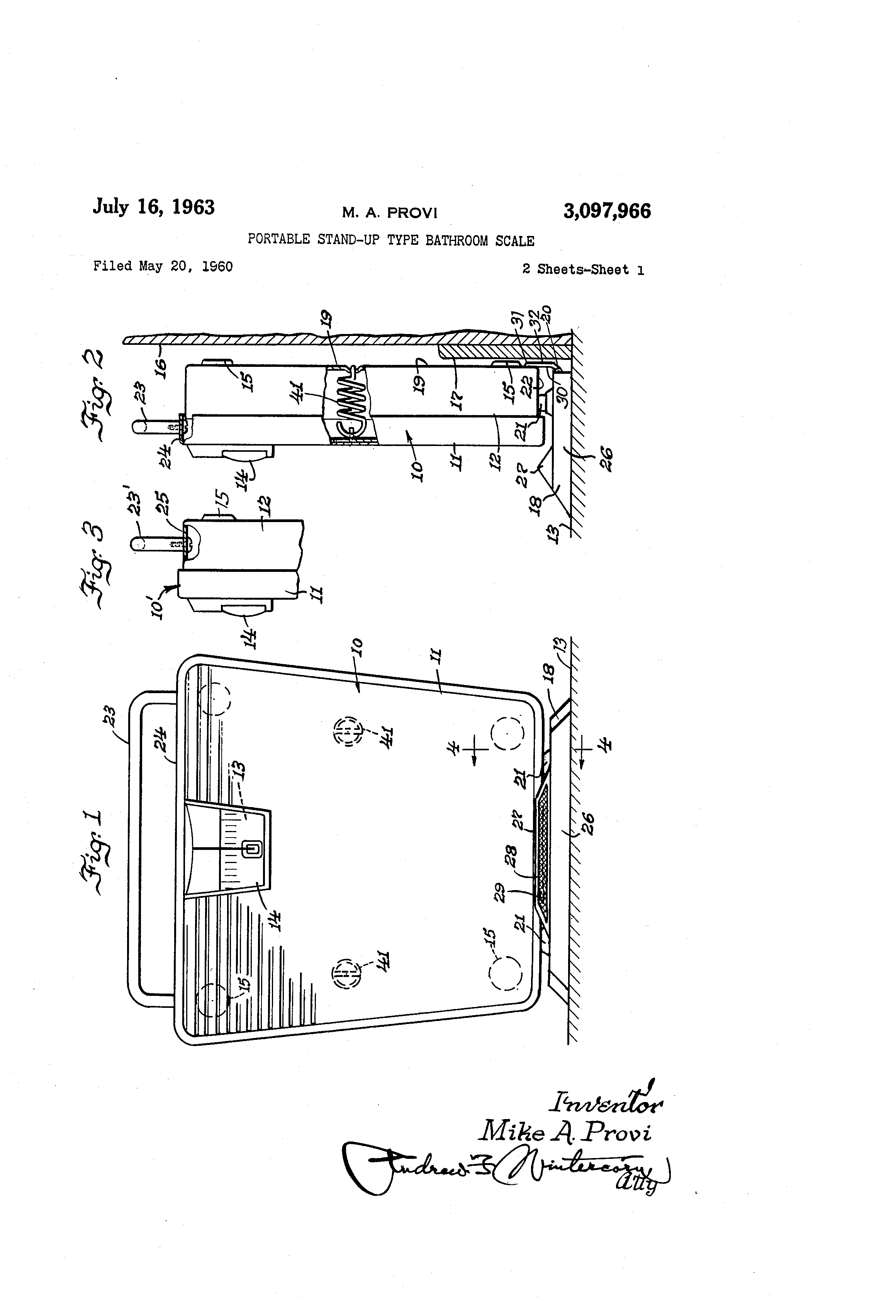 Stand Up Bathroom Scales - Patent drawing