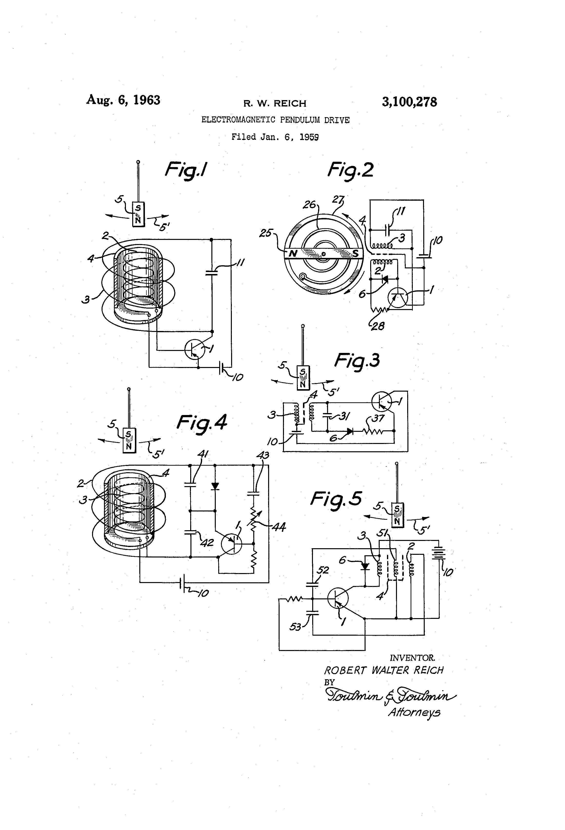 patent us3100278 - electromagnetic pendulum drive
