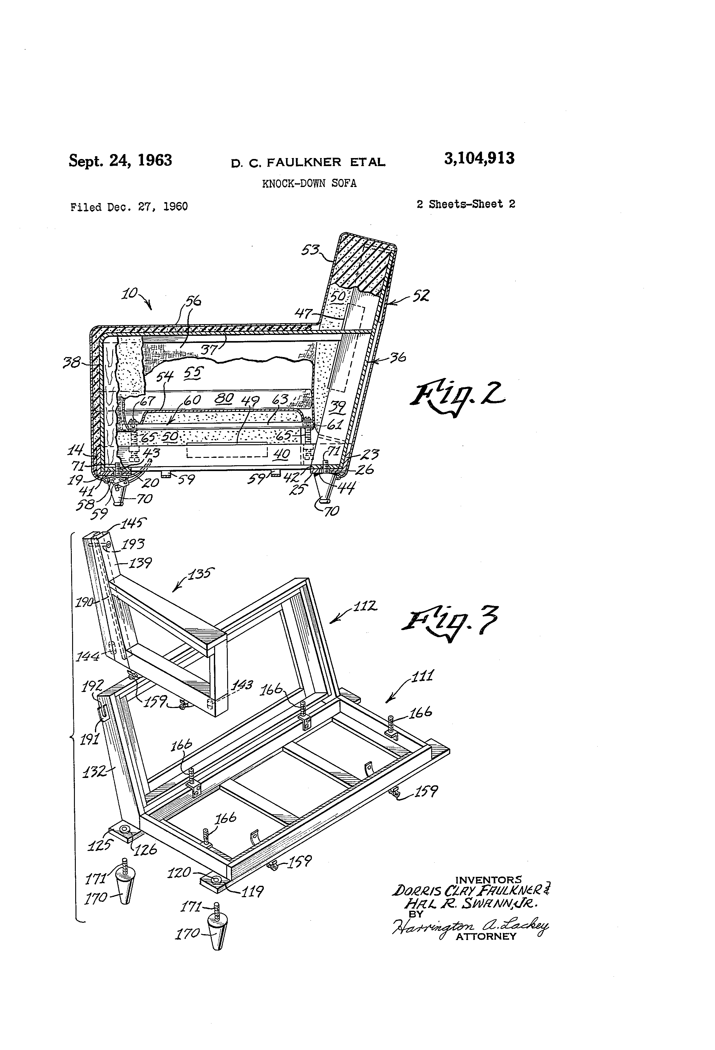 Patent Us3104913 Knock Down Sofa Google Patents  sc 1 st  Nrtradiant.com : sofa sectional drawing - Sectionals, Sofas & Couches