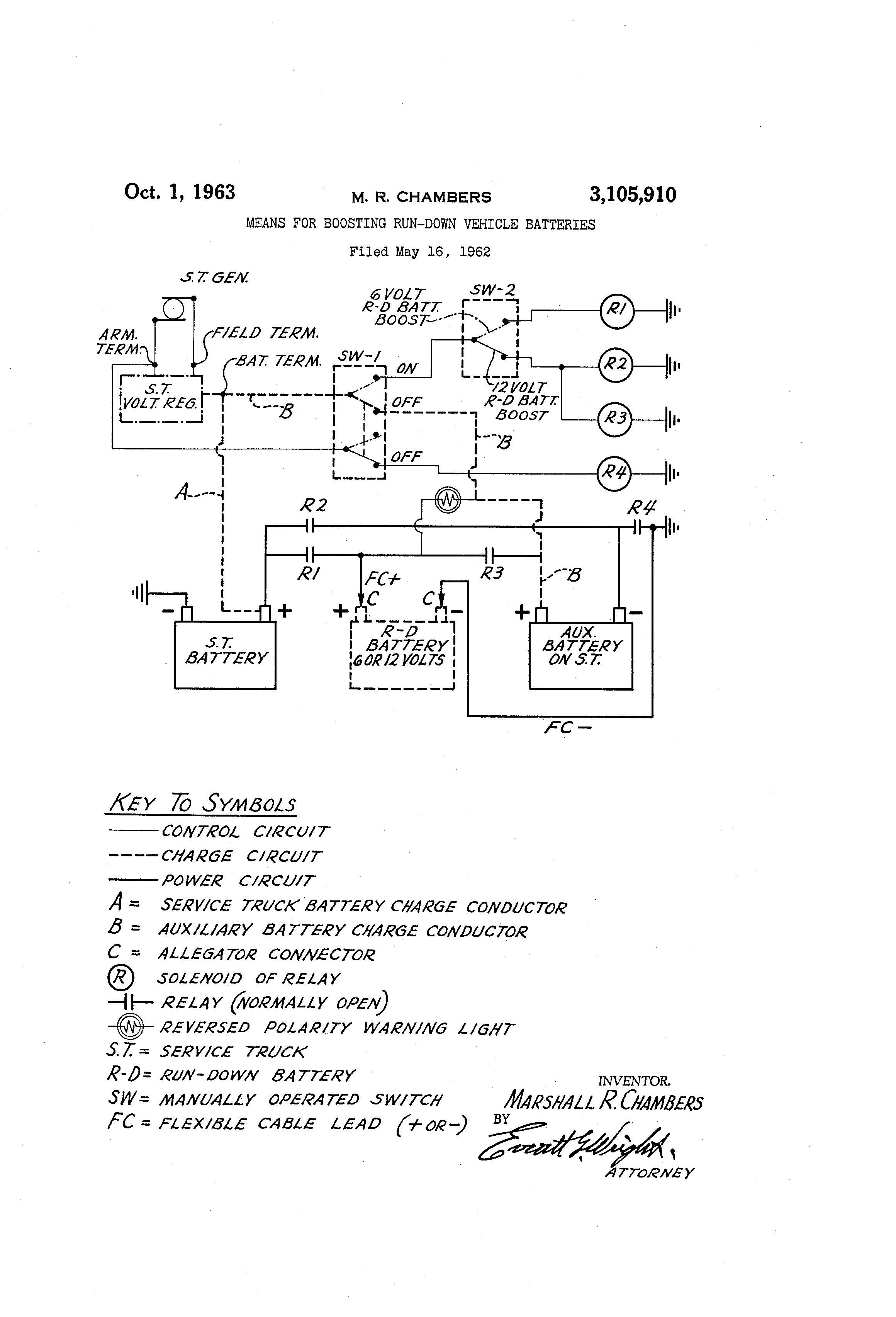 Patent Us3105910 Means For Boosting Run Down Vehicle Batteries Light Operated Switch Circuit Drawing