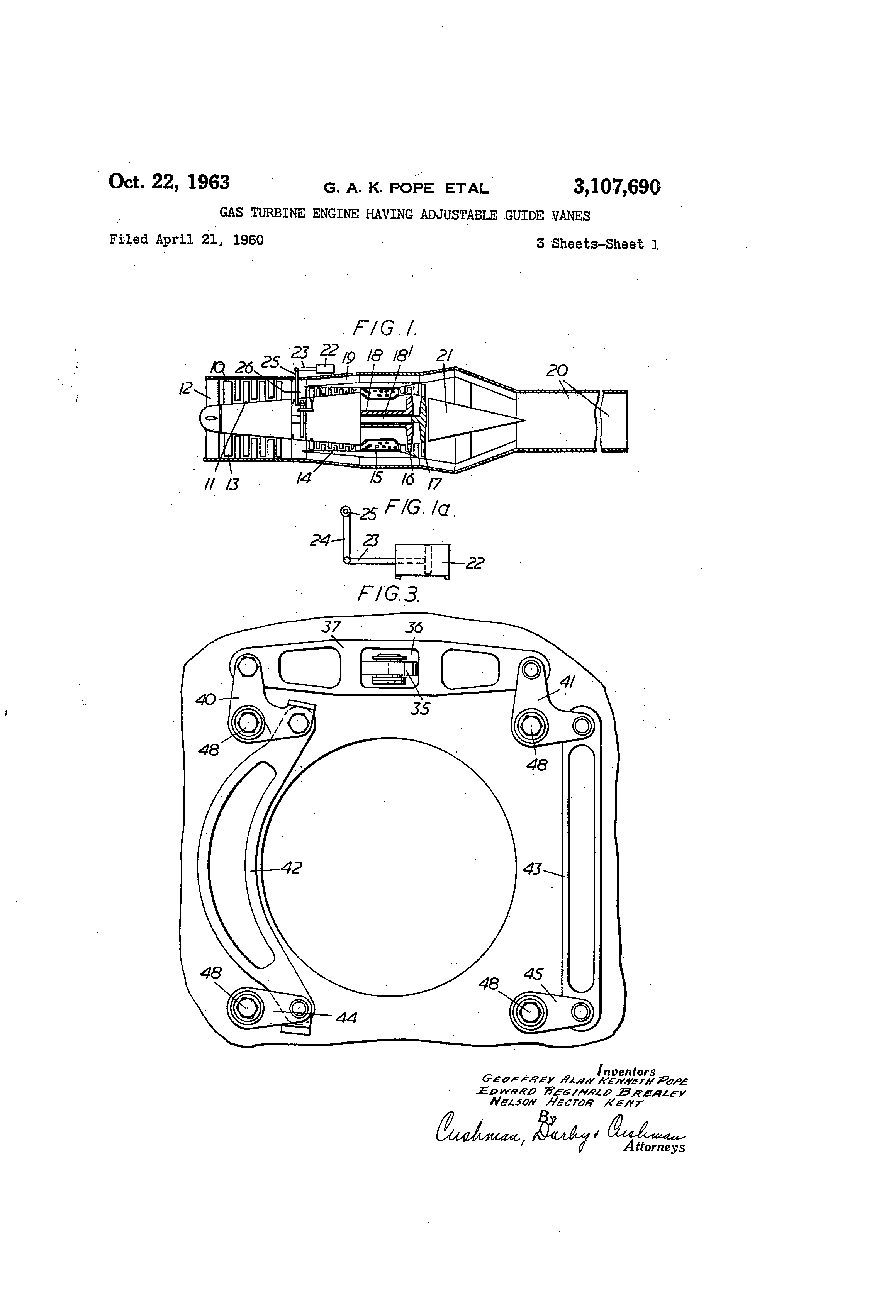 Patent US Gas turbine engine having adjustable guide