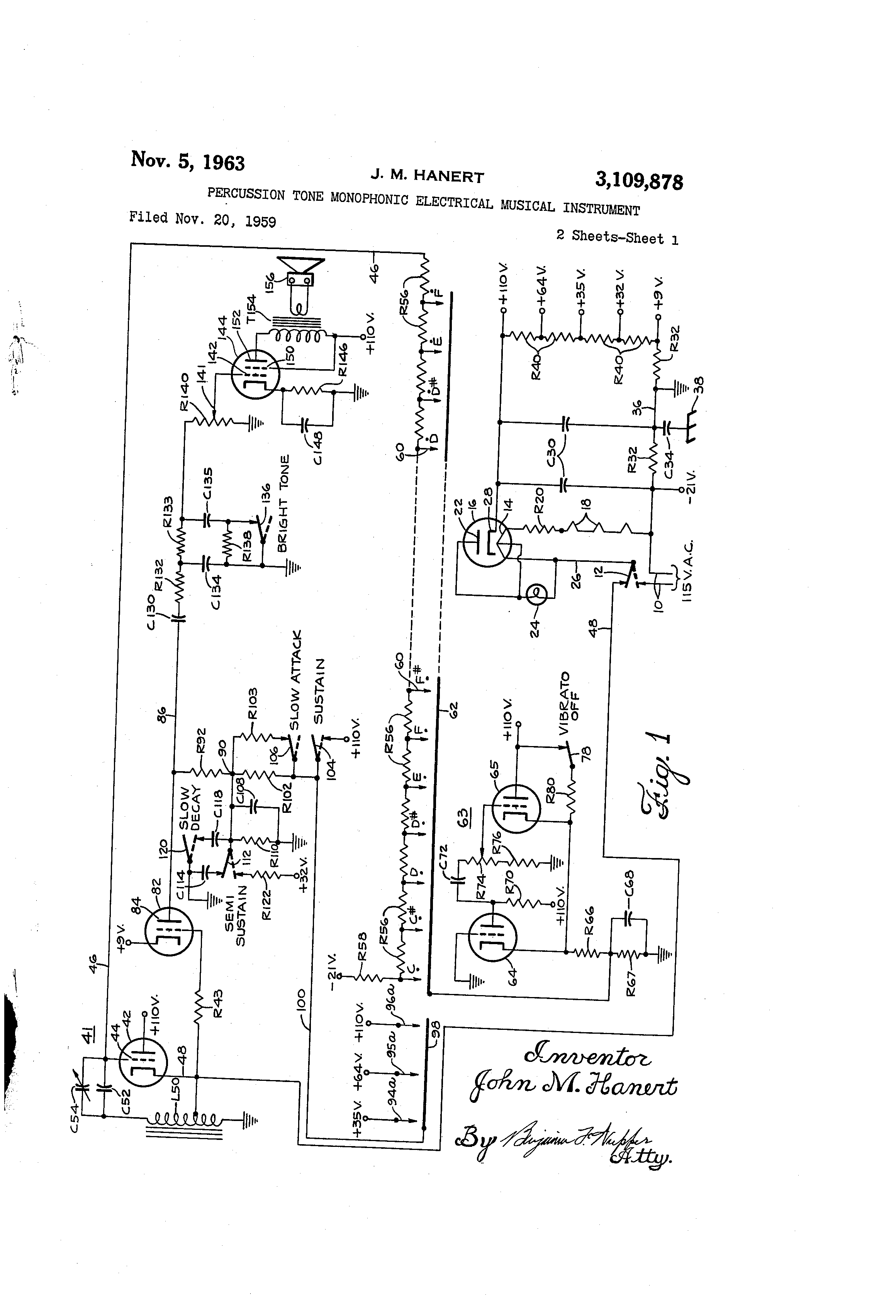 Brevet Us3109878 Percussion Tone Monophonic Electrical Musical Schematics How Do I Change The Frequency Of This Vibratocircuit Patent Drawing