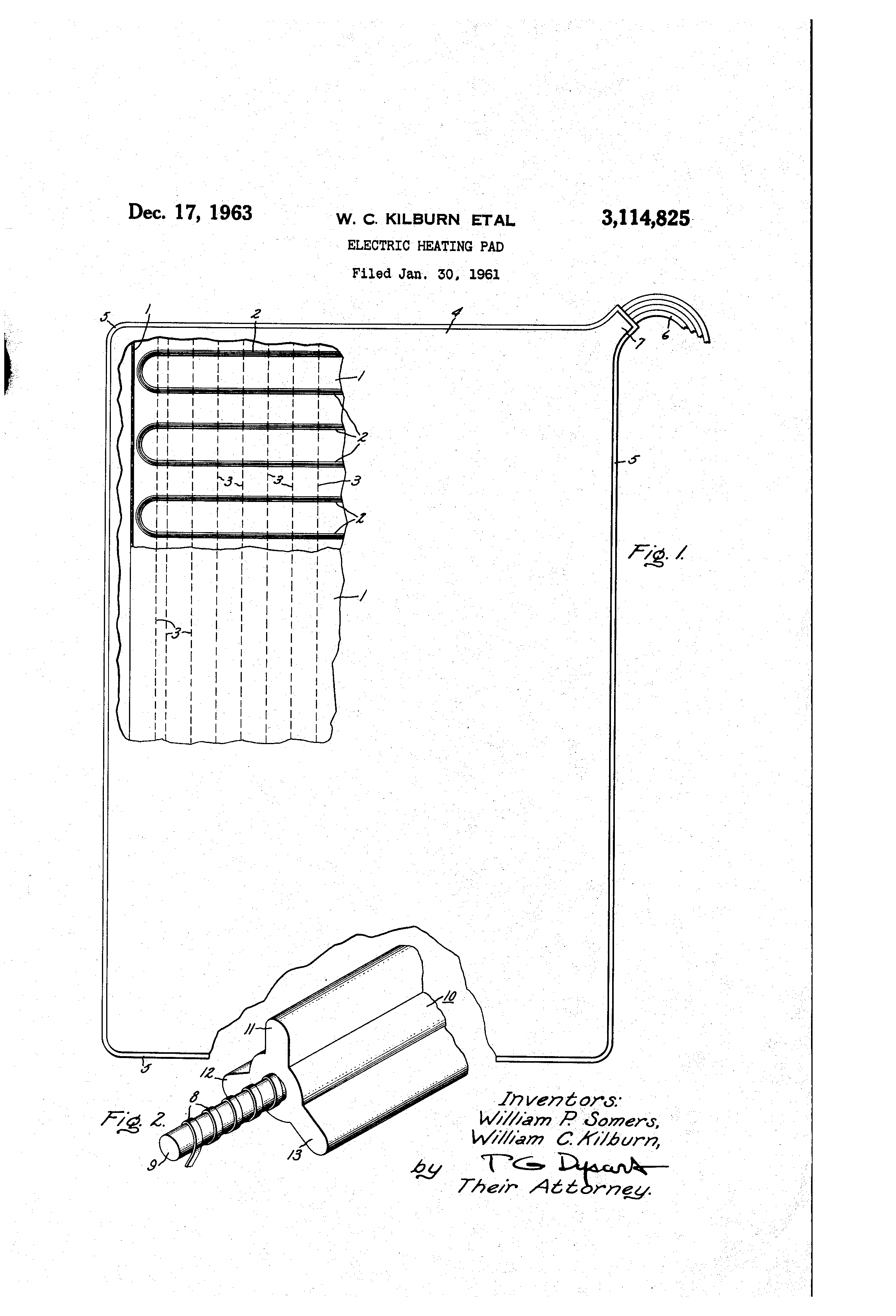 patent us3114825 - electric heating pad
