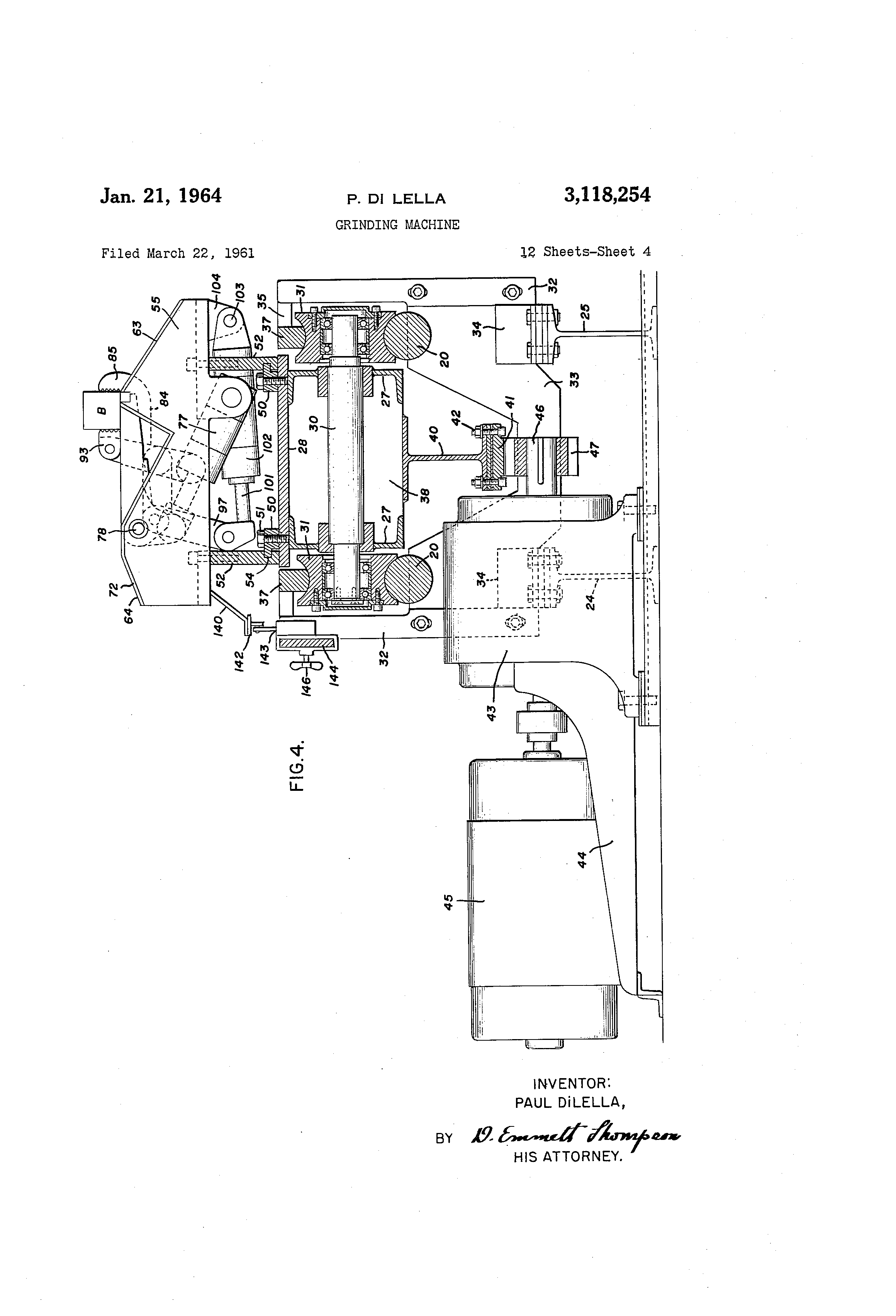 Us3118254 Grinding Machine Google 3 1l Engine Cooling System Diagram Patent Drawing