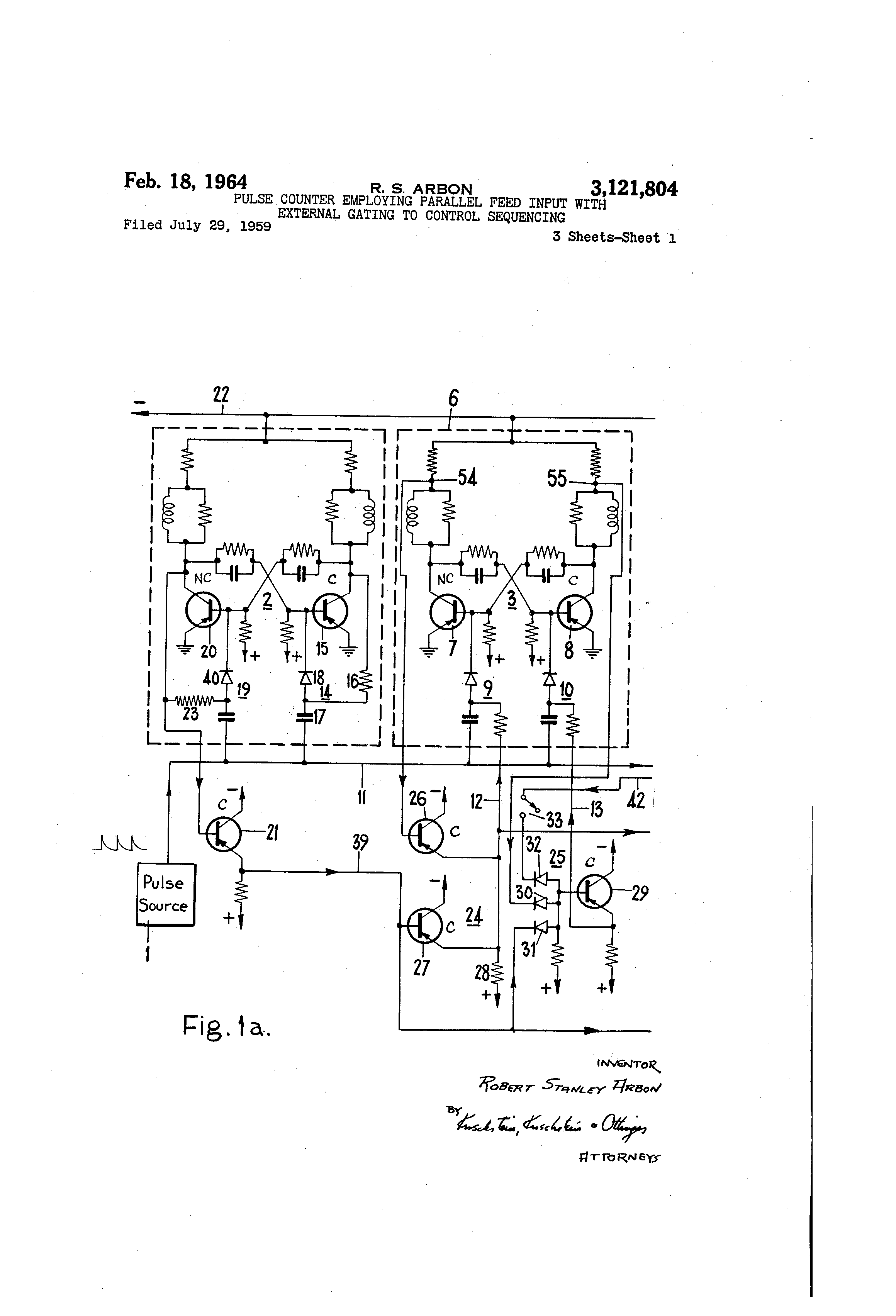 Patent US3121804 - Pulse counter employing parallel feed