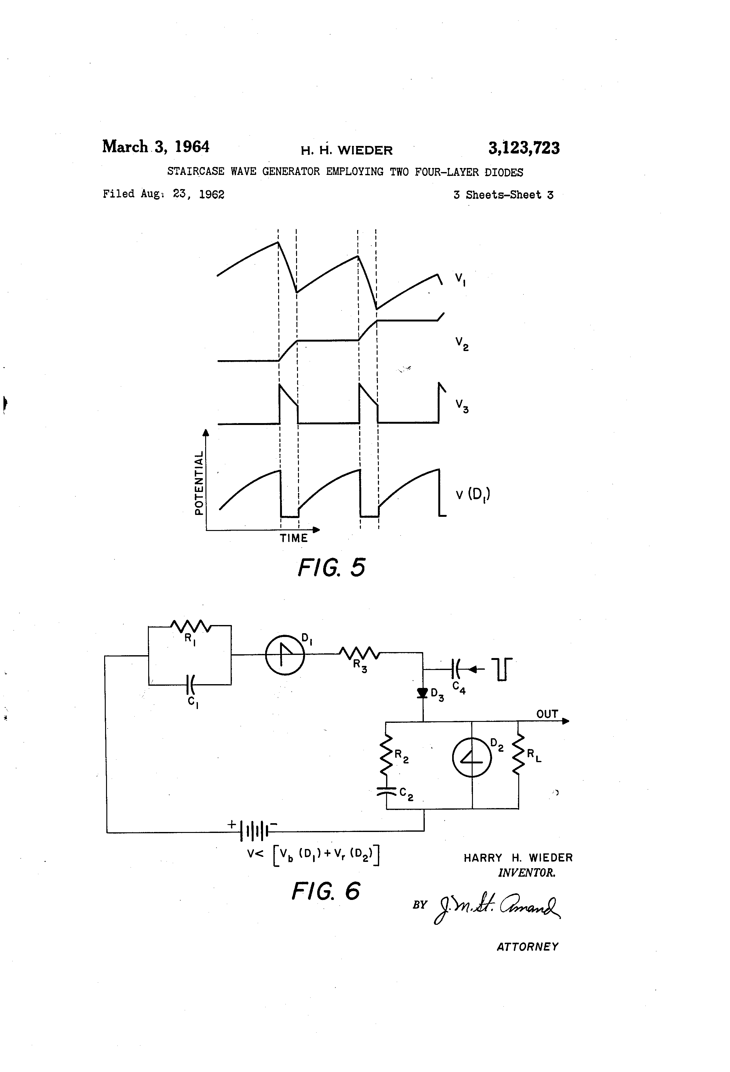 Patent Us3123723 Staircase Wave Generator Employing Two Four Layer Power Supply Current Limiters Using Transistors And Diodes Drawing