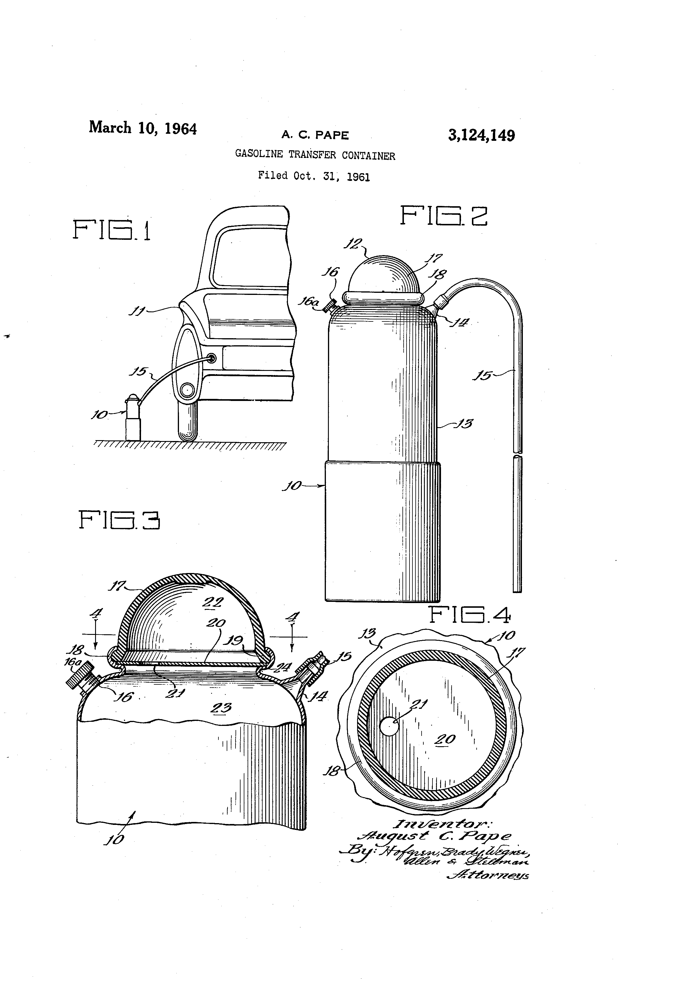 Patent US3124149 - Gasoline transfer container - Google Patents