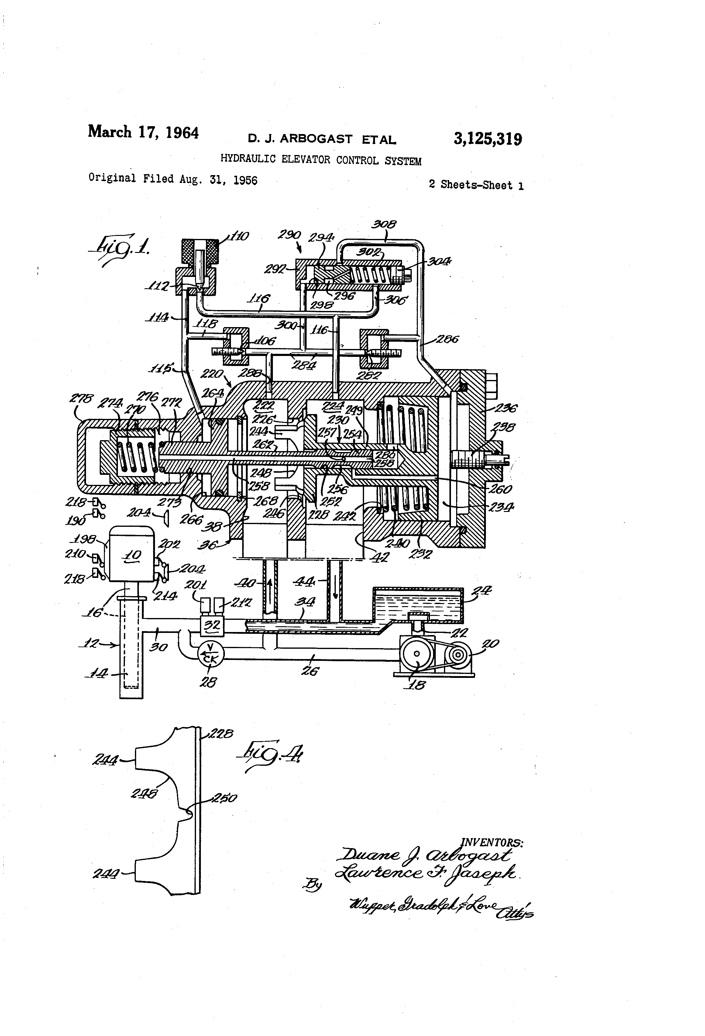 US3125319 0 patent us3125319 hydraulic elevator control system google patents dover elevator wiring diagrams at fashall.co