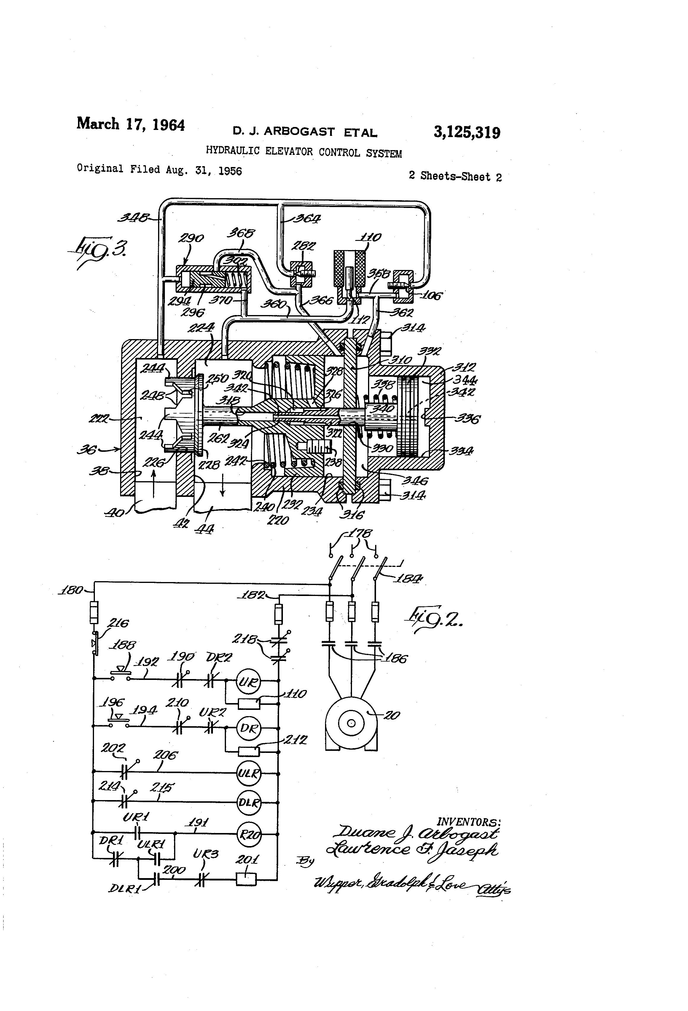US3125319 1 patent us3125319 hydraulic elevator control system google patents dover elevator wiring diagrams at fashall.co