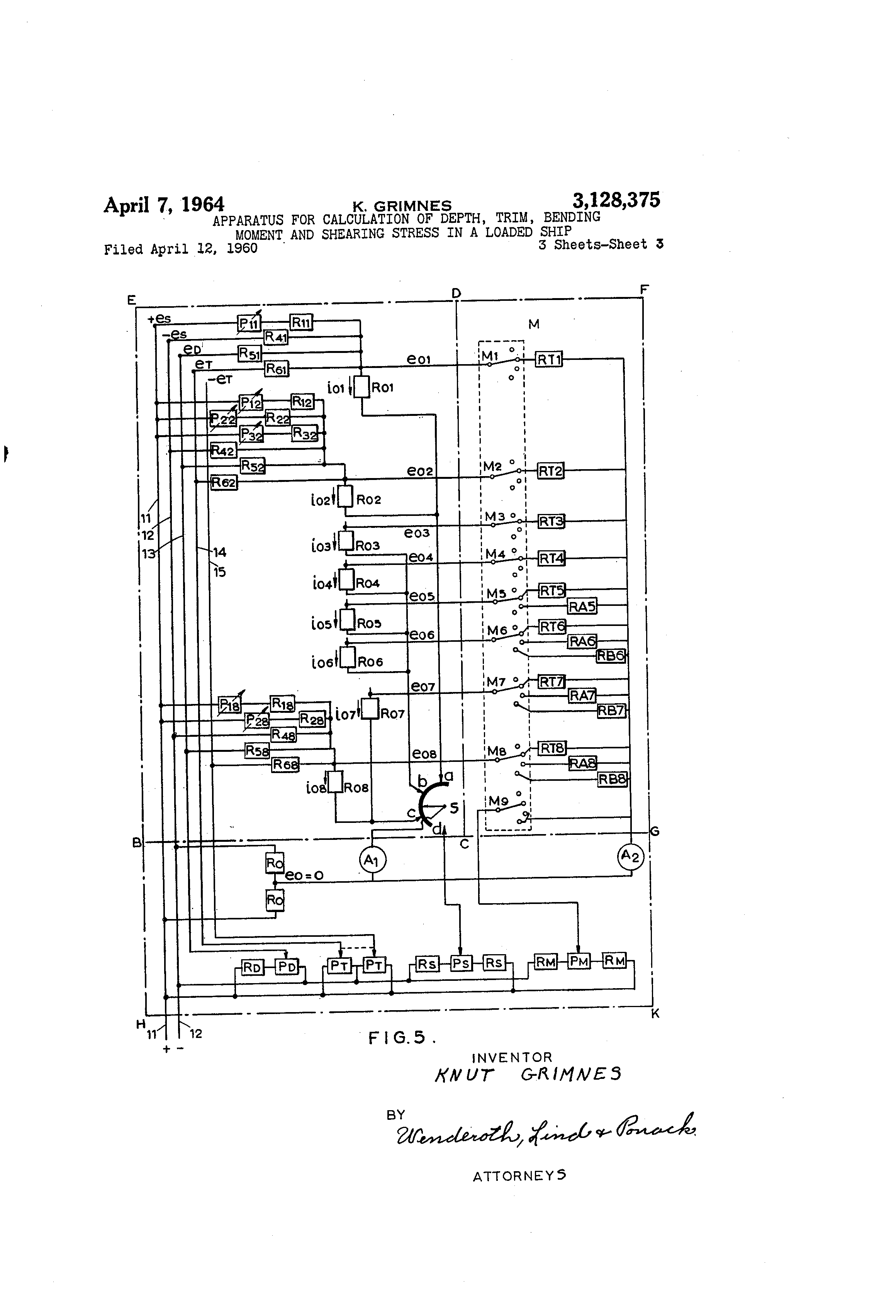 Brevet US3128375 - Apparatus for calculation of depth, trim