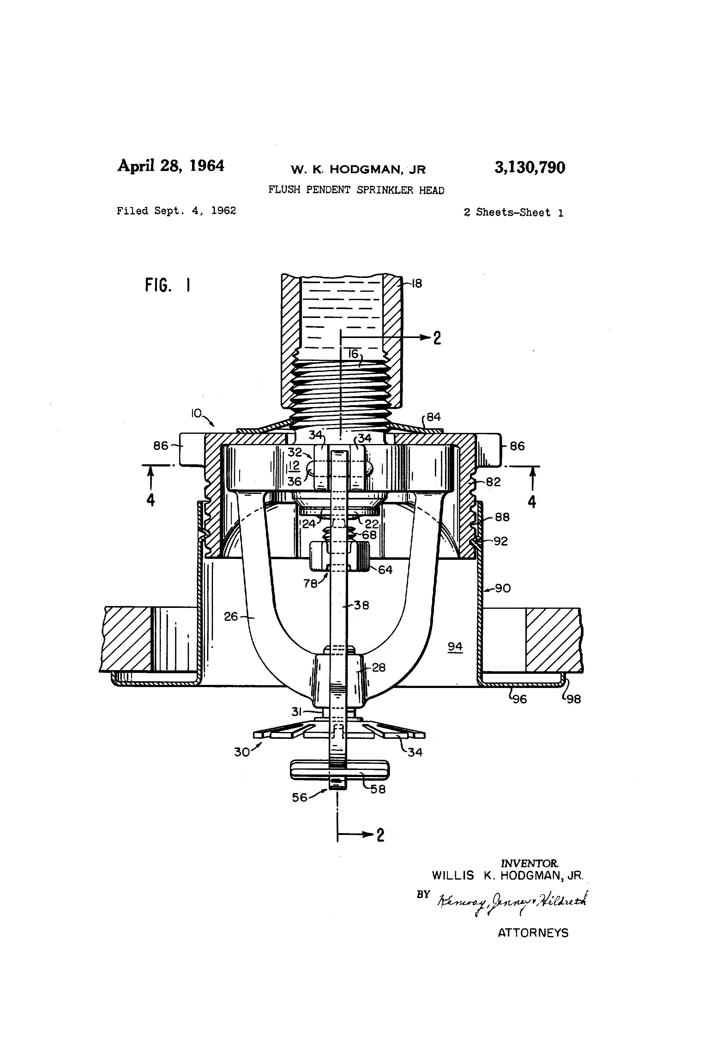 fire sprinkler head parts diagram