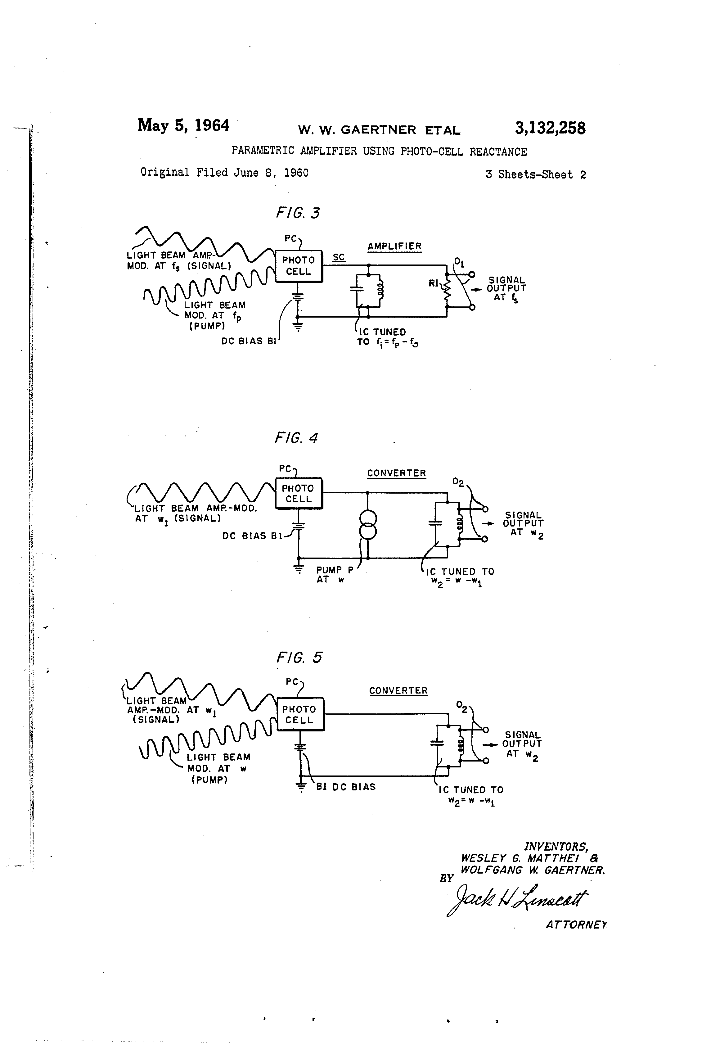 Patent Us3132258 Parametric Amplifier Using Photo Cell Reactance Photocells Amplifiers Circuit Schematic Diagram Drawing