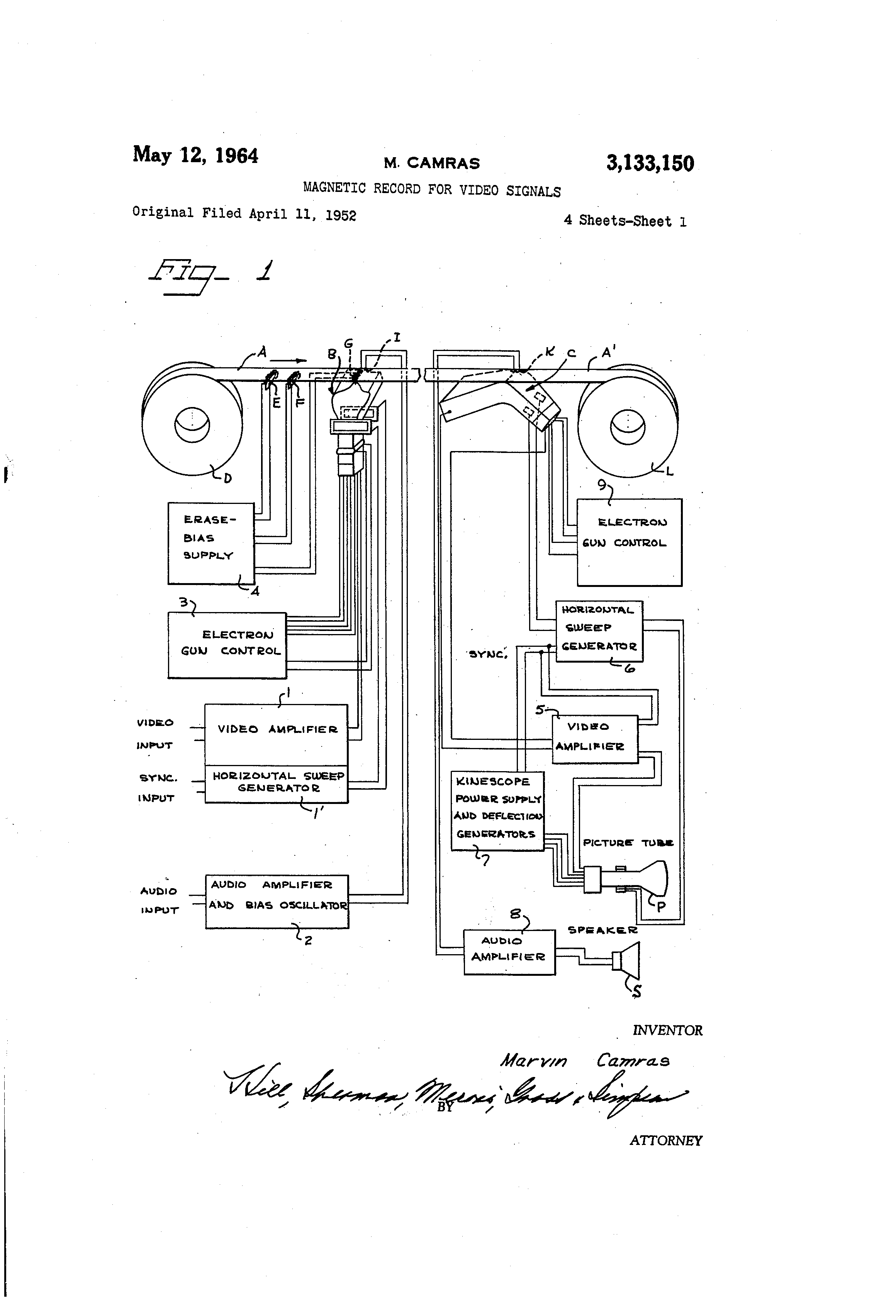 Patent US3133150 - Magnetic record for video signals