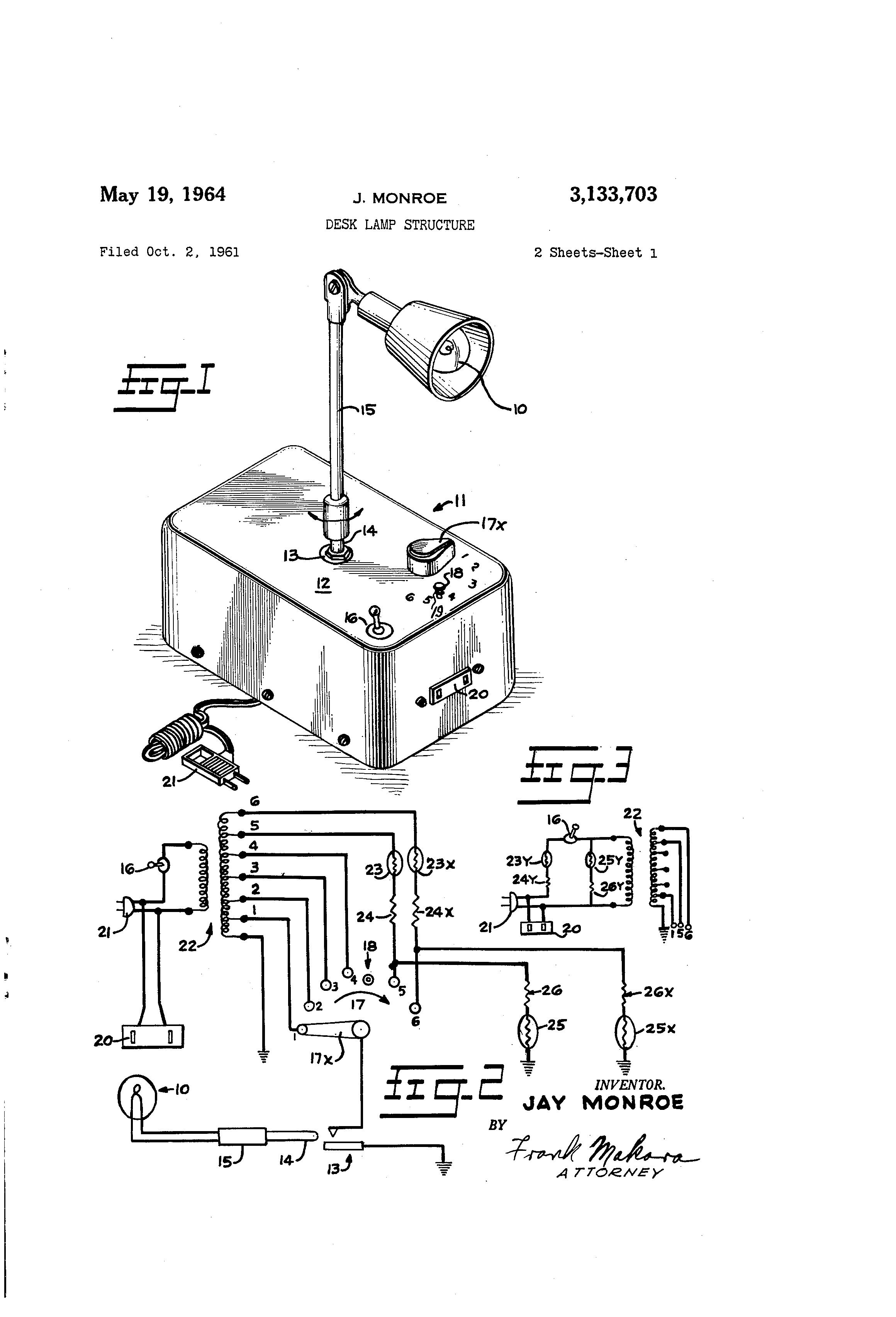 Patent Us3133703 Desk Lamp Structure Google Patents