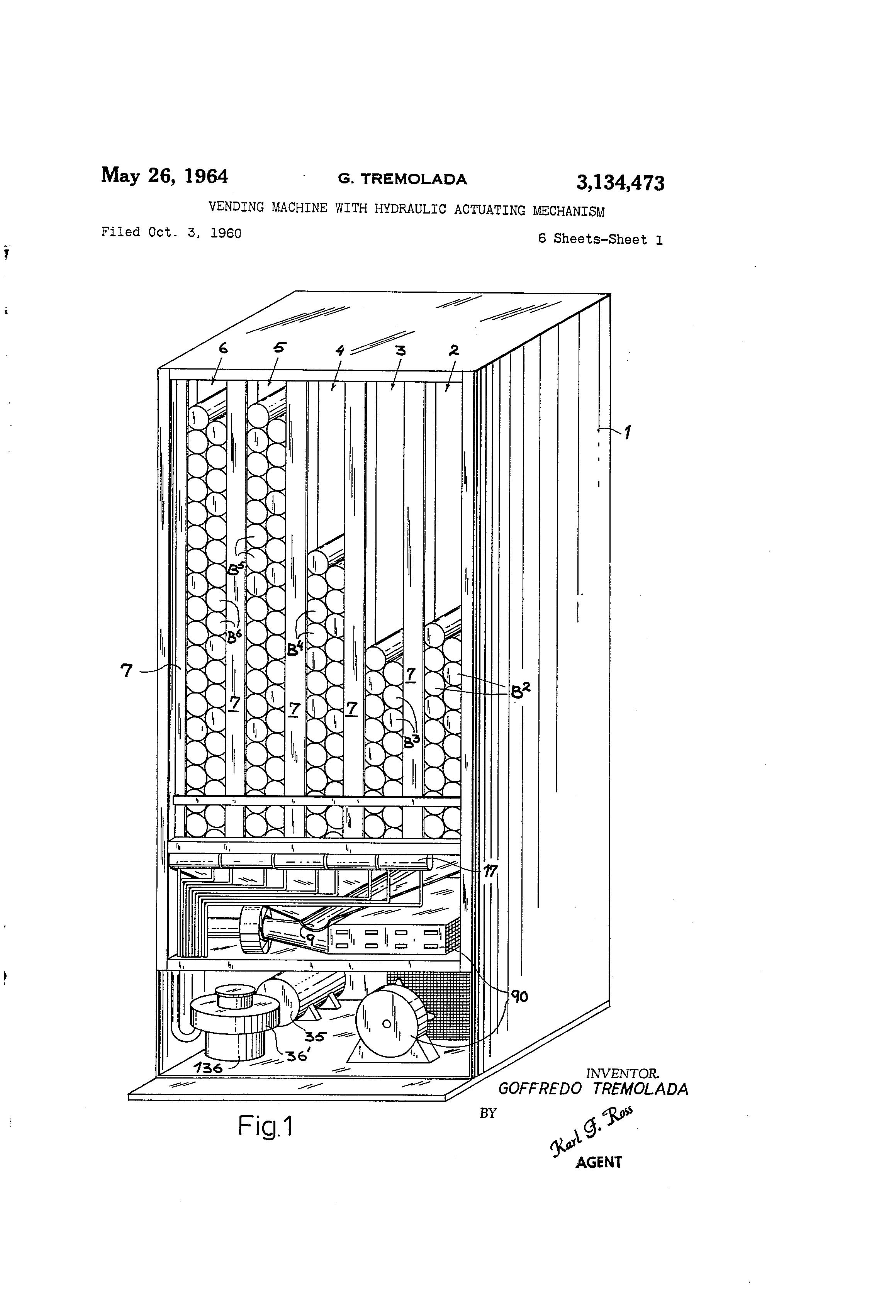 Patent Us3134473 Vending Machine With Hydraulic