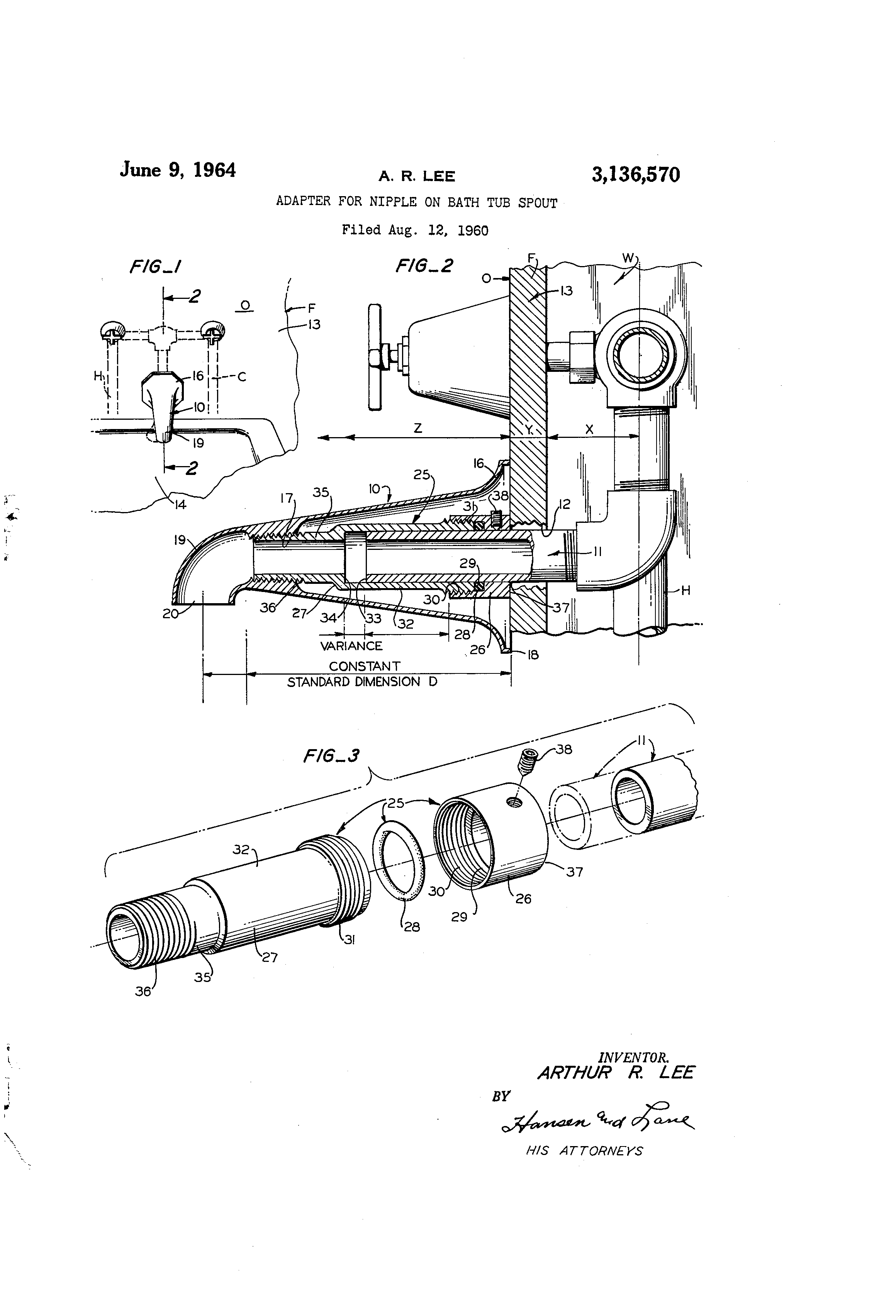Patent Us3136570 Adapter For Nipple On Bath Tub Spout