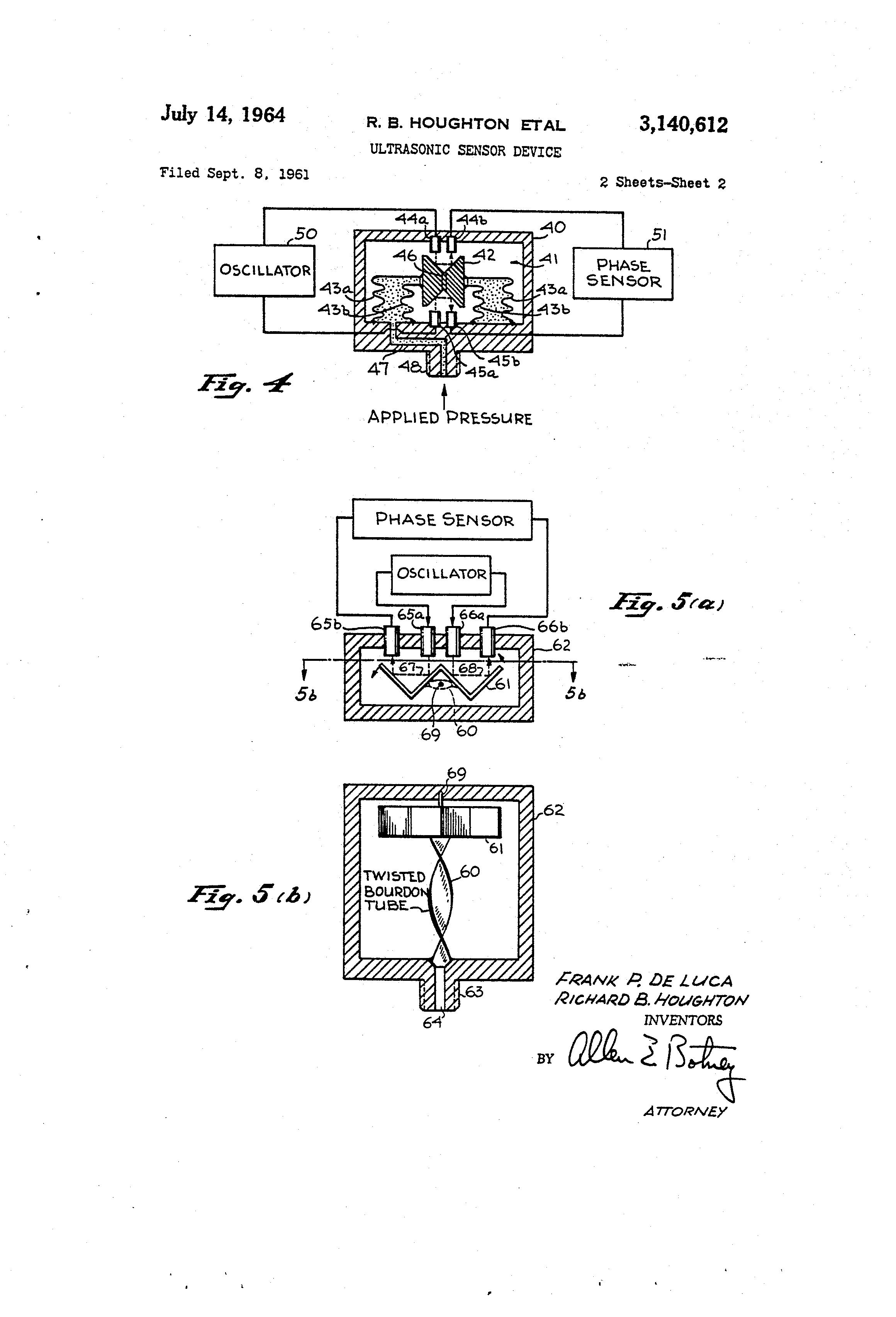 براءة الاختراع US3140612 - Ultrasonic sensor device - on