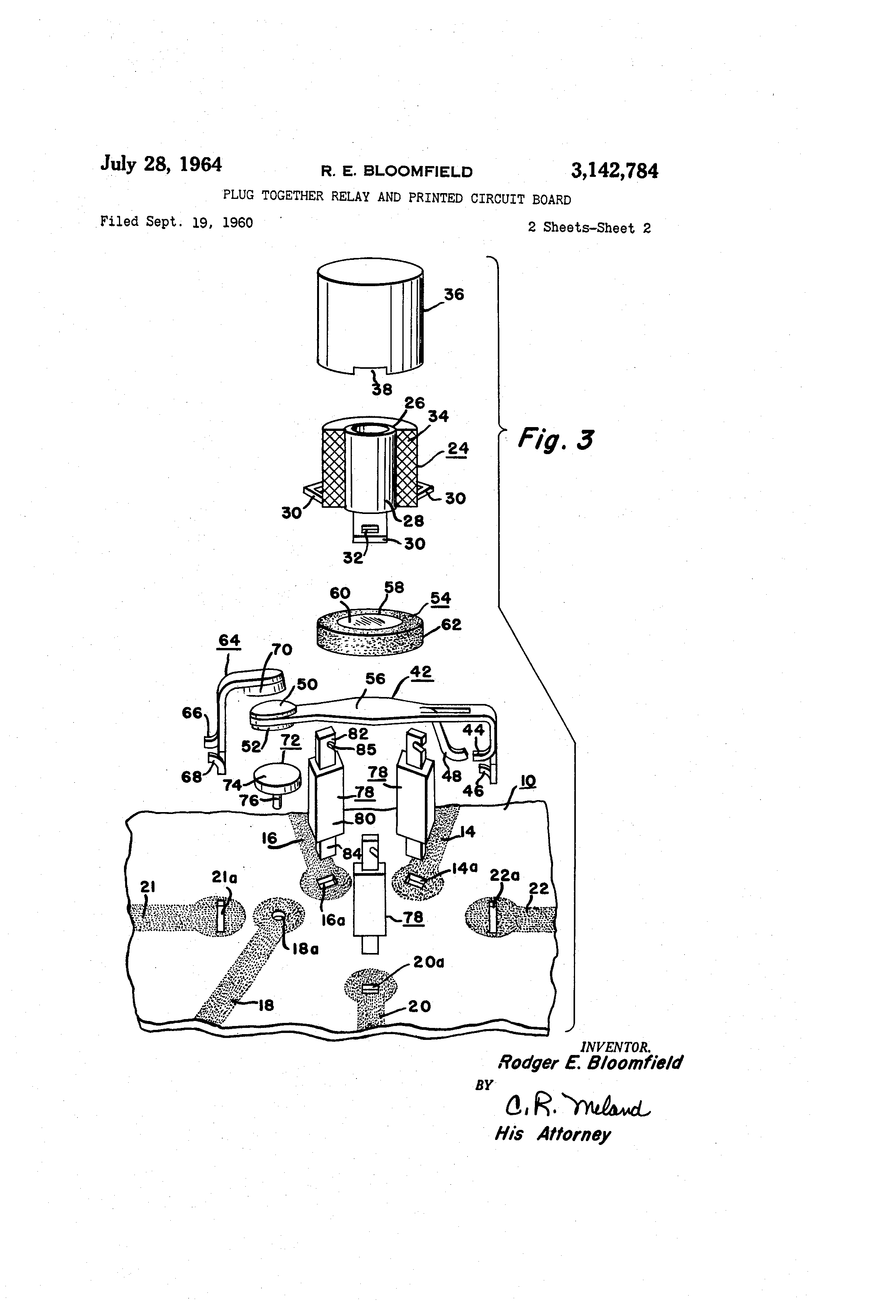 patent us3142784 - plug together relay and printed circuit board