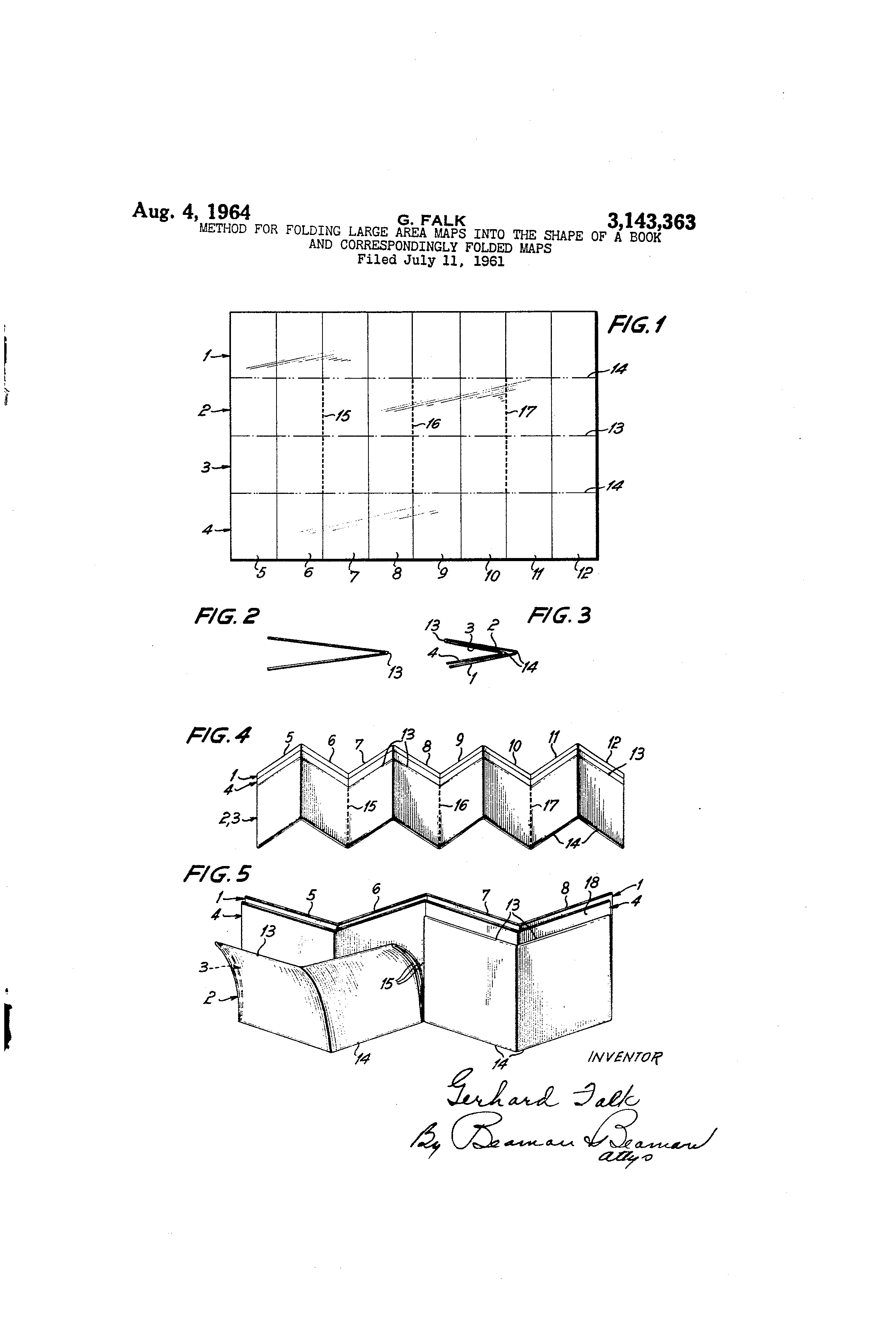 Patent US Method For Folding Large Area Maps Into The - Us map fold