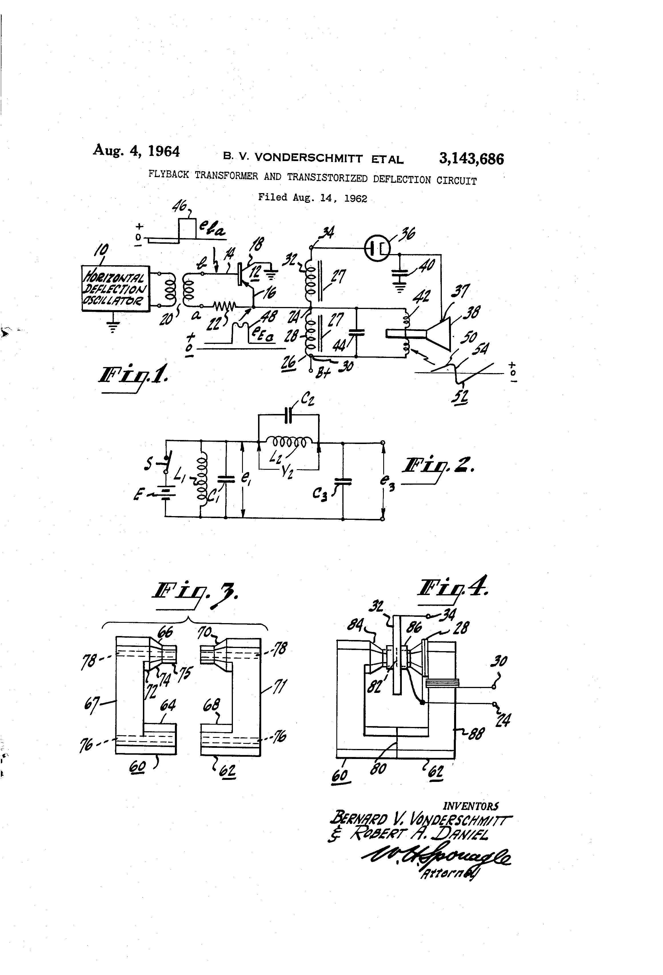 Patent US3143686 - Flyback transformer and transistorized