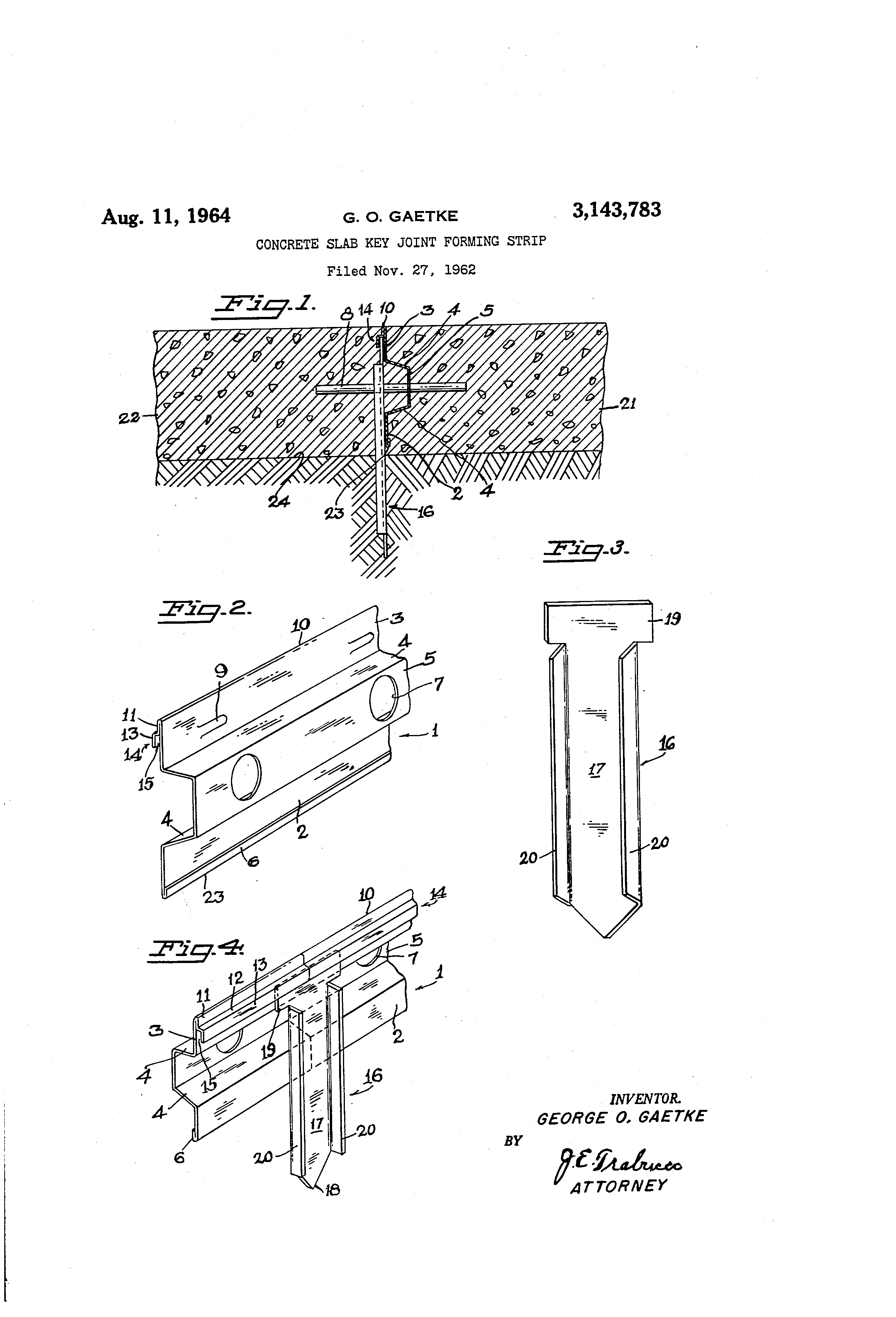 Joint Key Concrete : Patent us concrete slab key joint forming strip