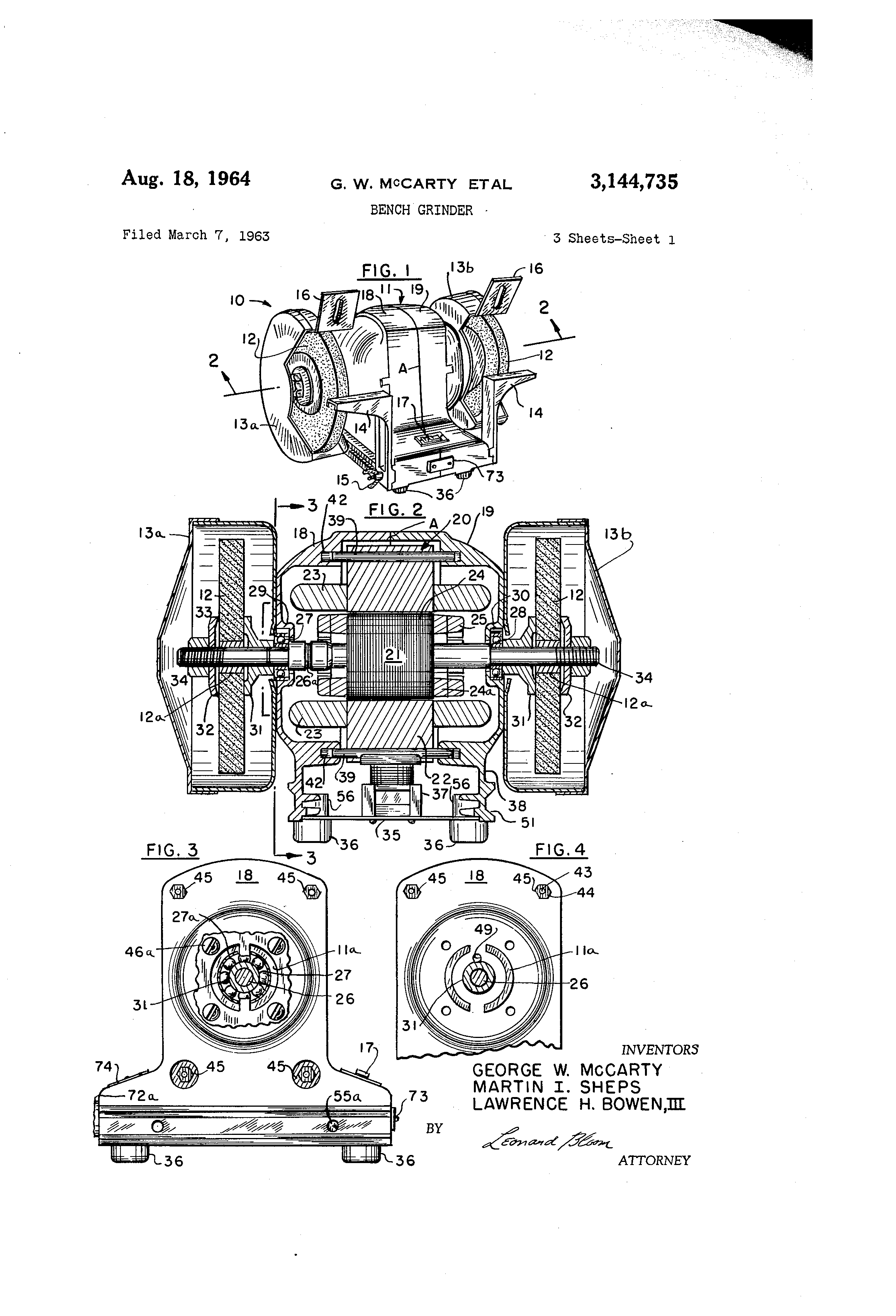 US3144735 0 patent us3144735 bench grinder google patents black and decker bench grinder wiring diagram at edmiracle.co