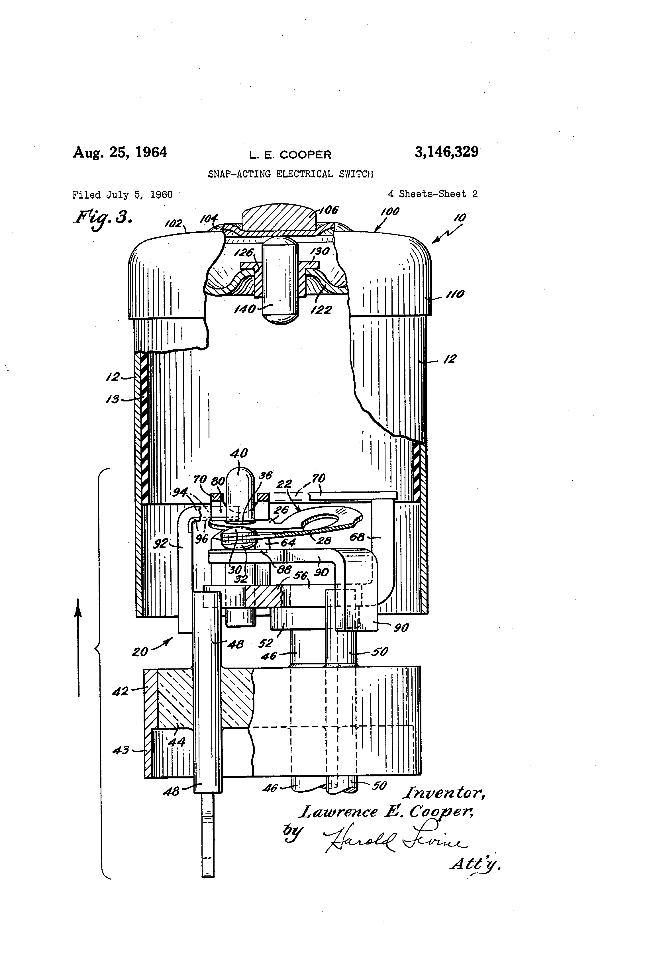 Patente Us3146329 Snap Acting Electrical Switch Google Patentes Cooper Motion Wiring Diagram Patent Drawing