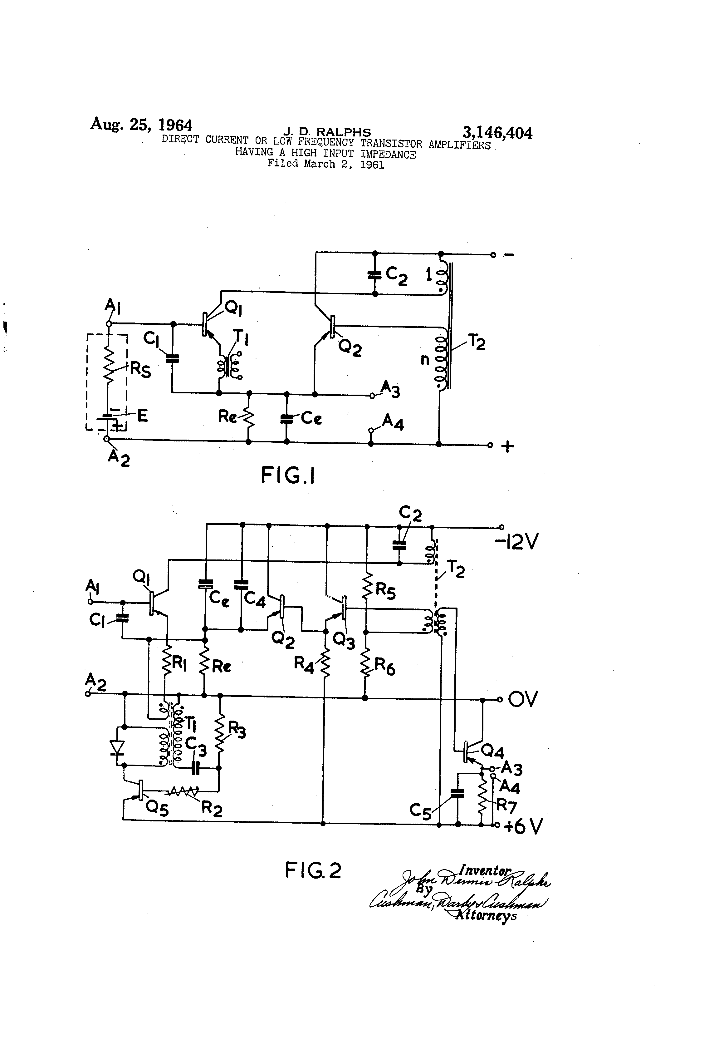 Patent US3146404 - Direct current or low frequency transistor