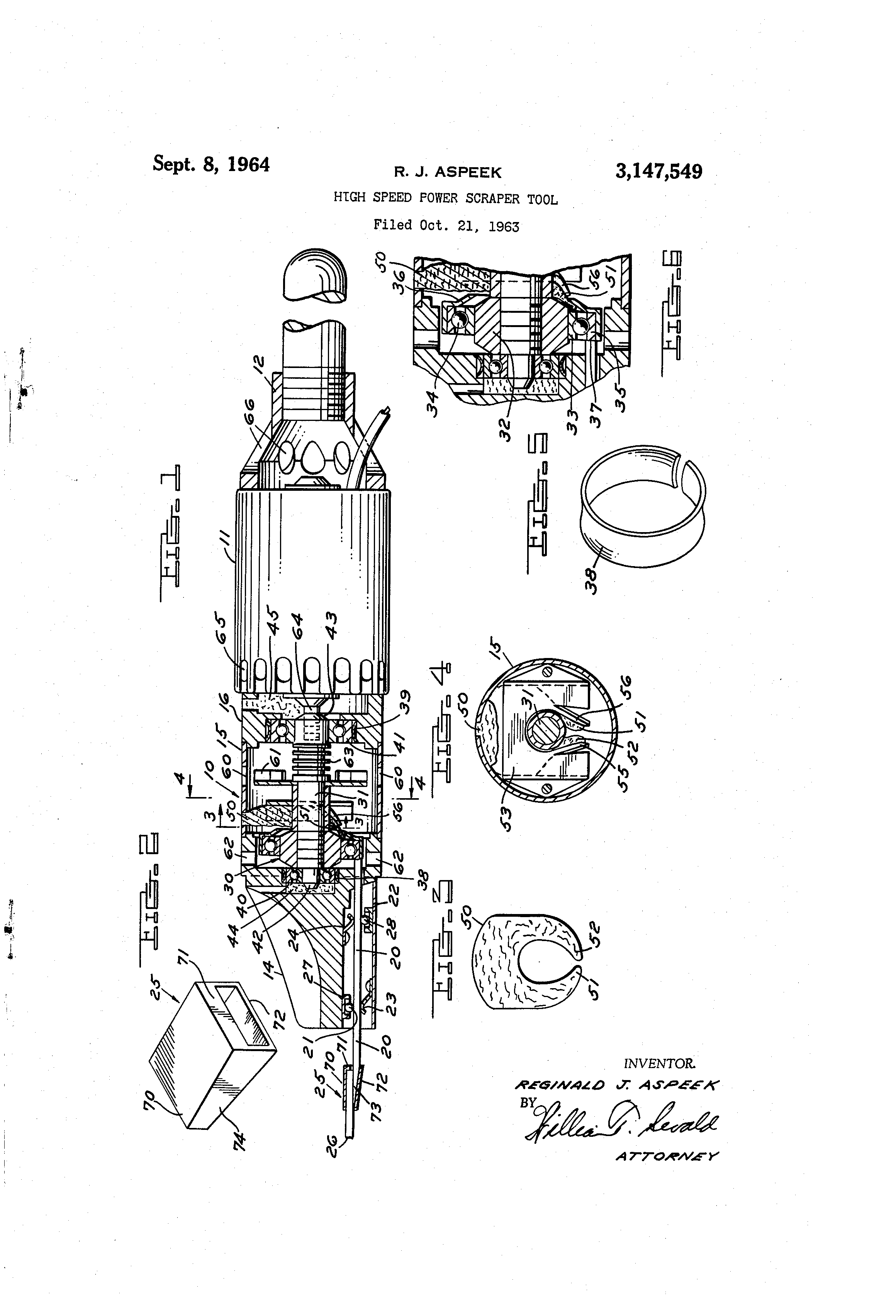 Patent US3147549 - High speed power scraper tool - Google