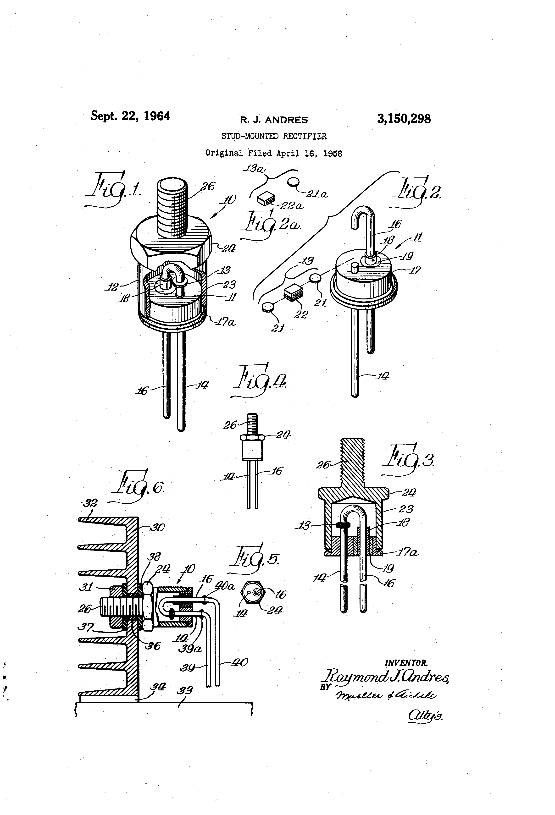 patent us3150298 - stud-mounted rectifier