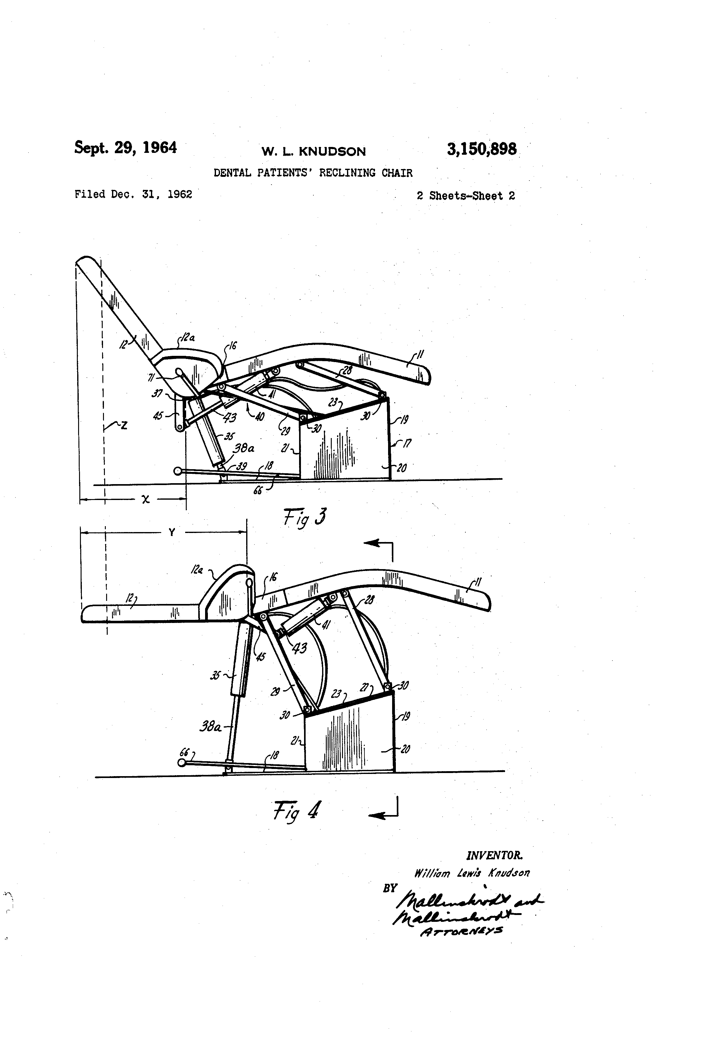 Patent Us3150898 Dental Patients Reclining Chair