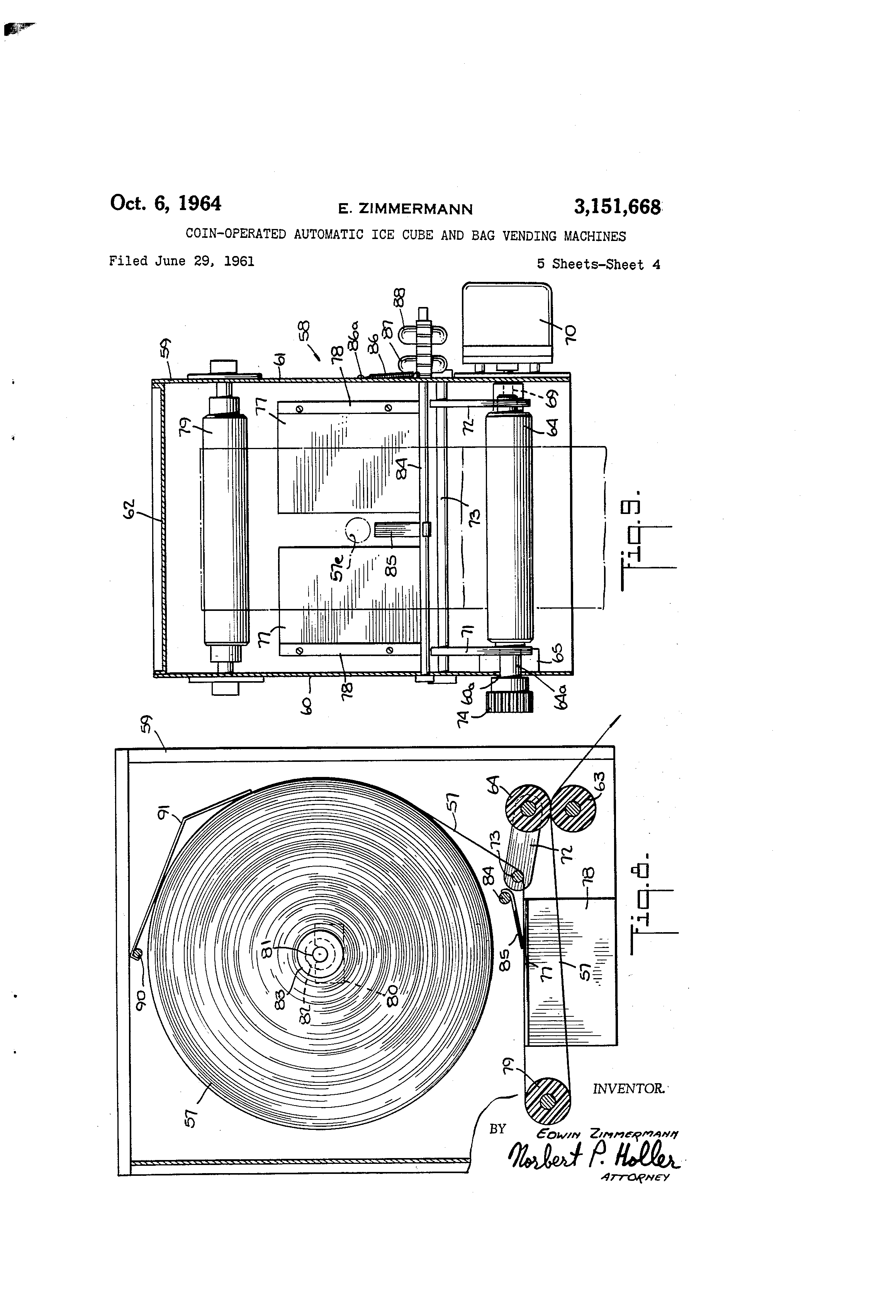 patent us3151668 coin operated automatic ice cube and bag