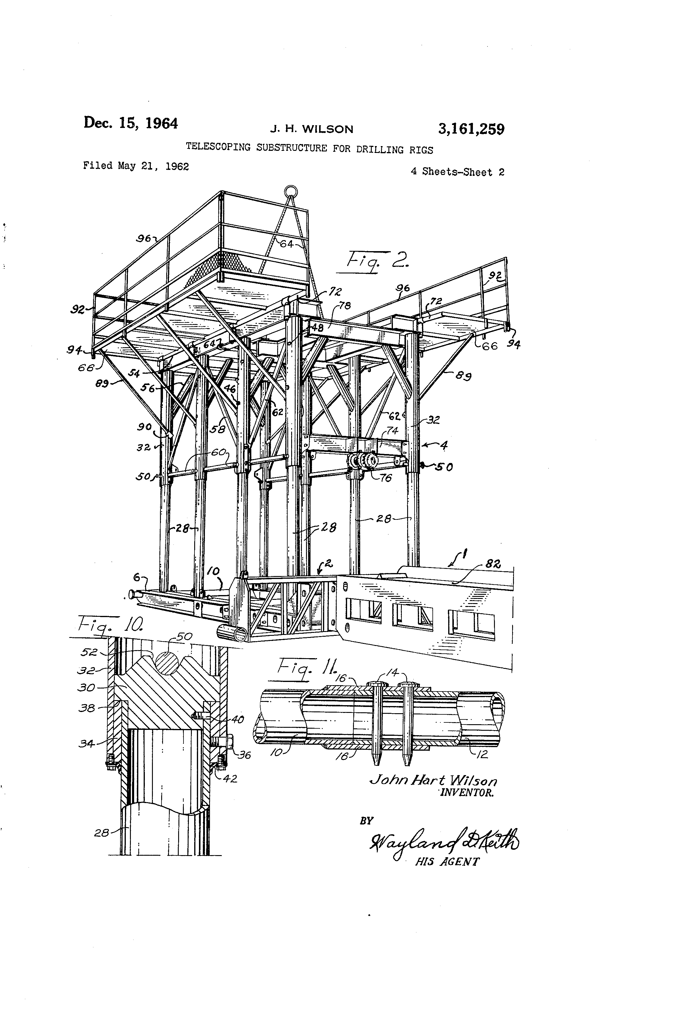 patent us3161259 - telescoping substructure for drilling rigs