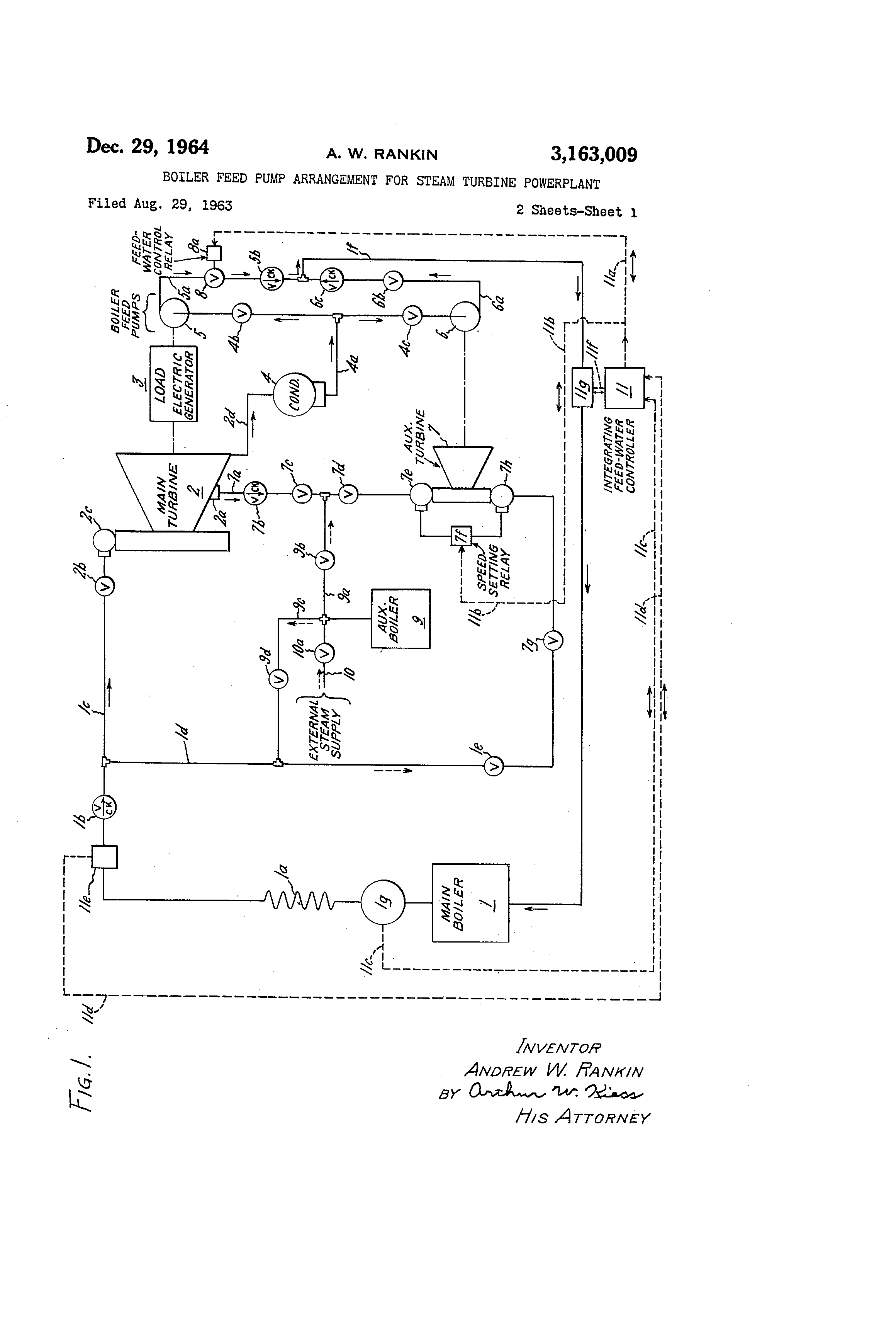 Patent US Boiler feed pump arrangement for steam turbine
