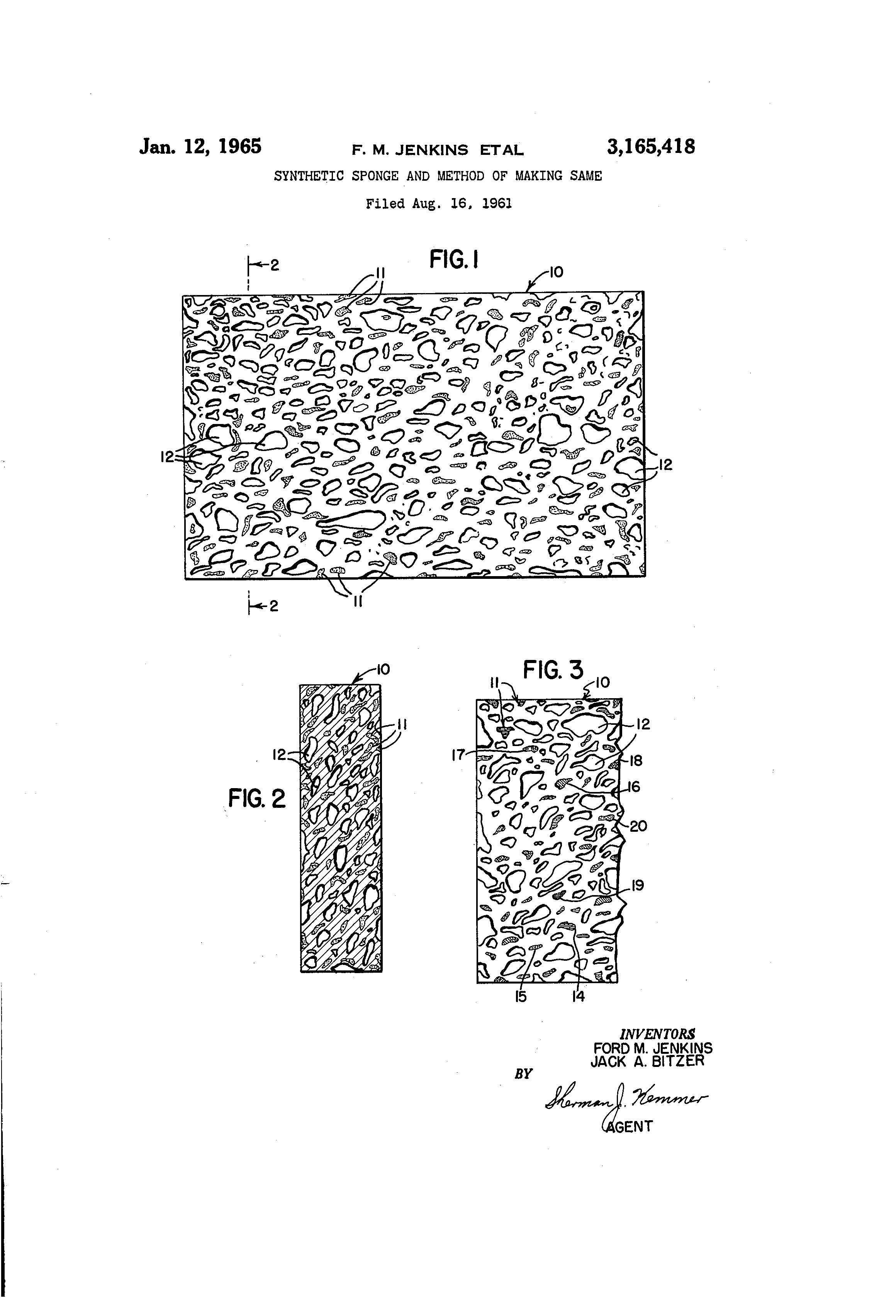 patent us3165418 synthetic sponge and method of making same