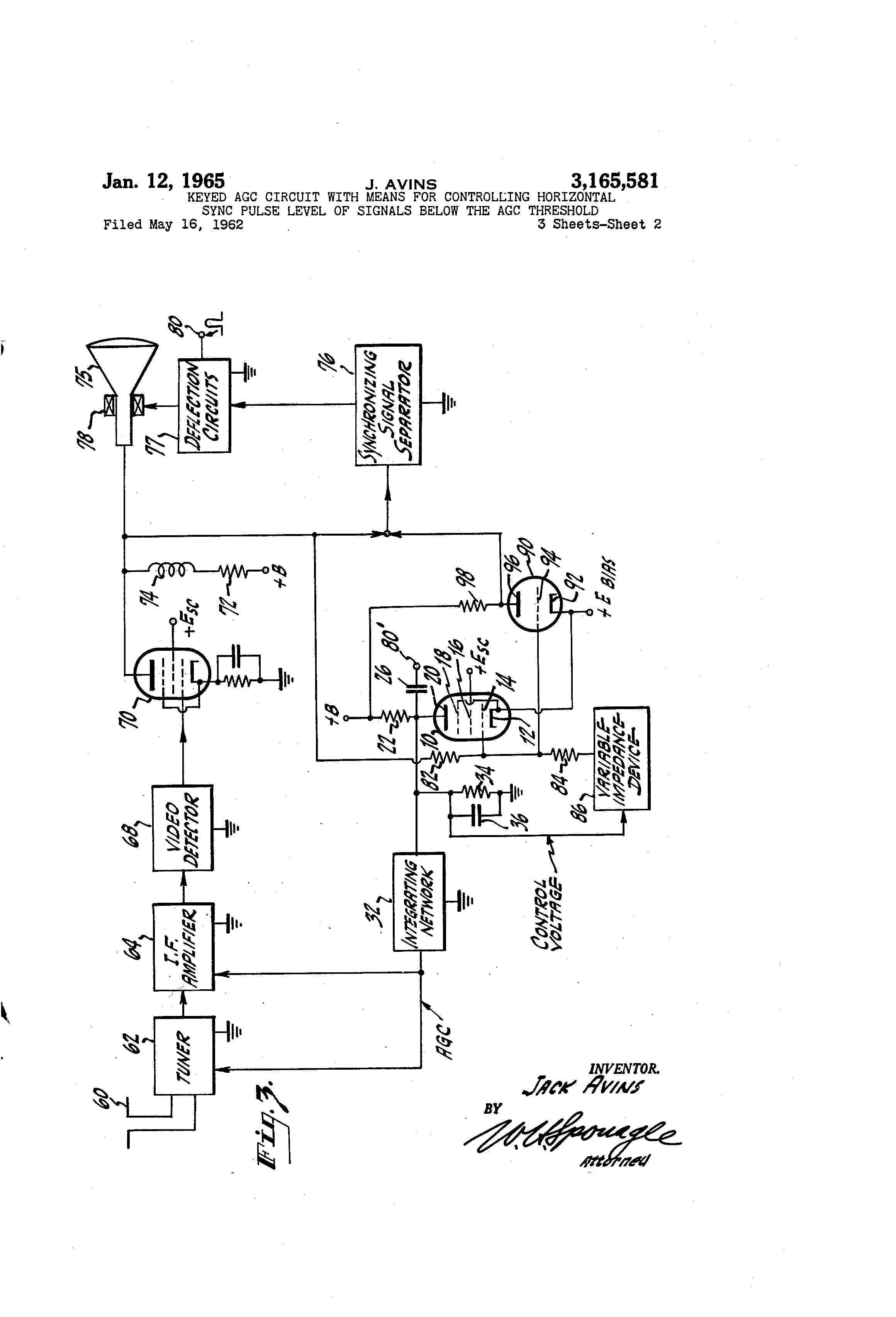 Patent US3165581 - Keyed agc circuit with means for