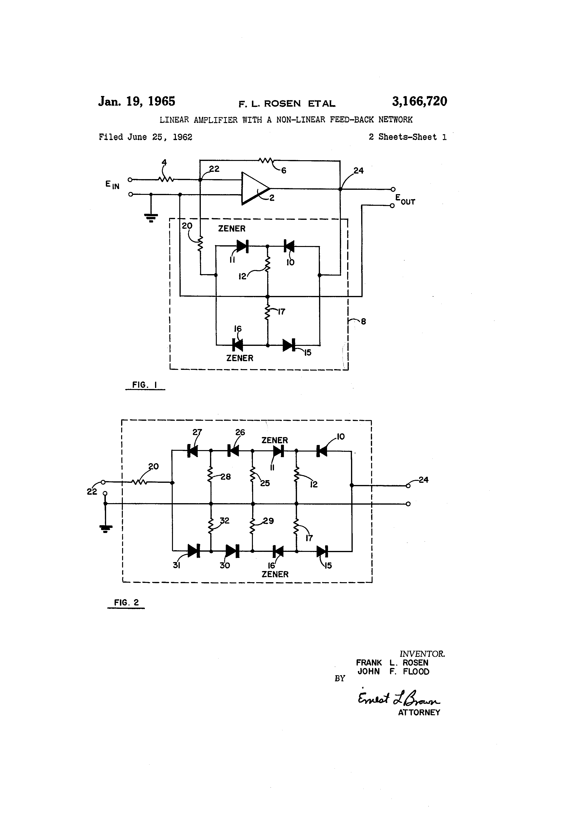 Patent US3166720 - Linear amplifier with a non-linear feed-back