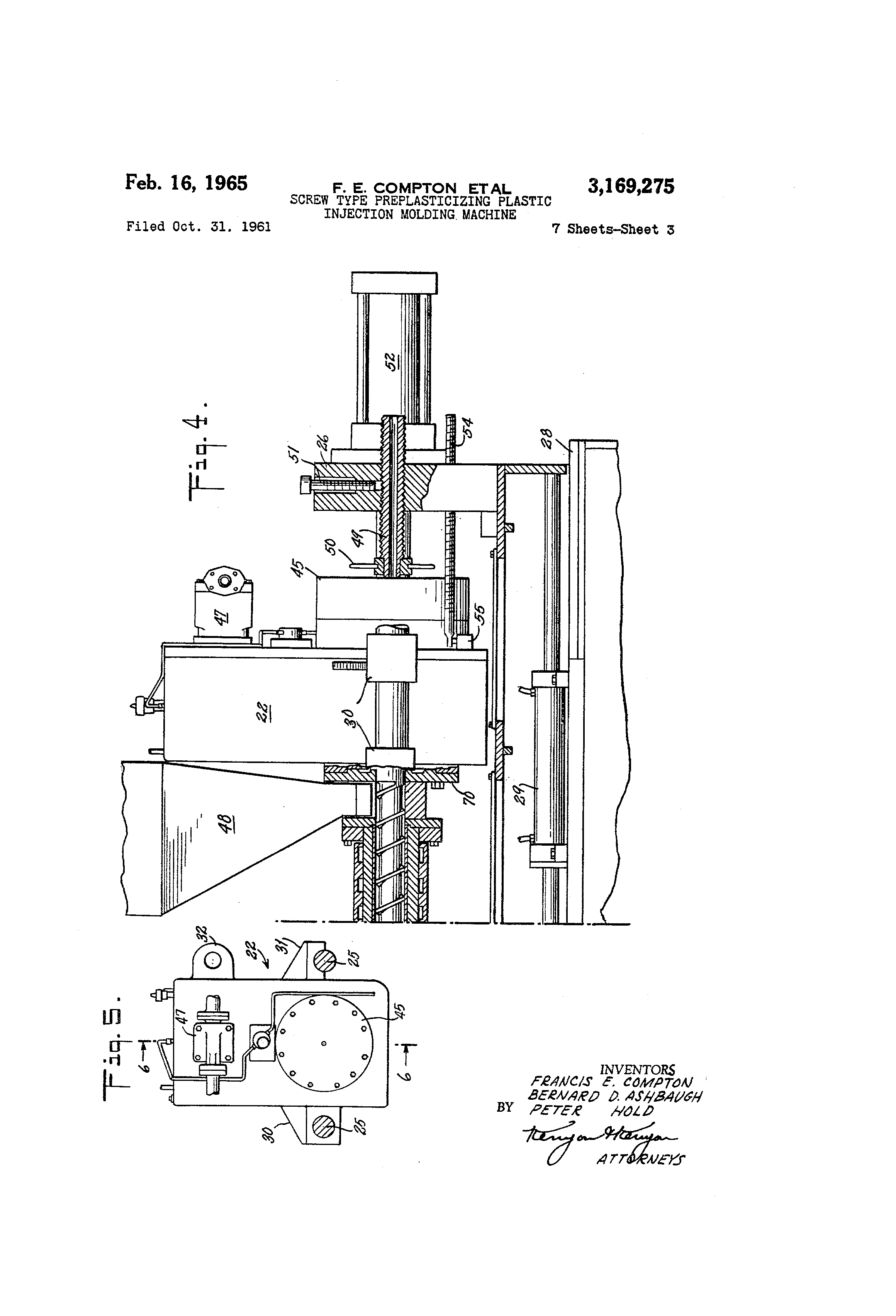patent us3169275 - screw type preplasticizing plastic injection molding machine