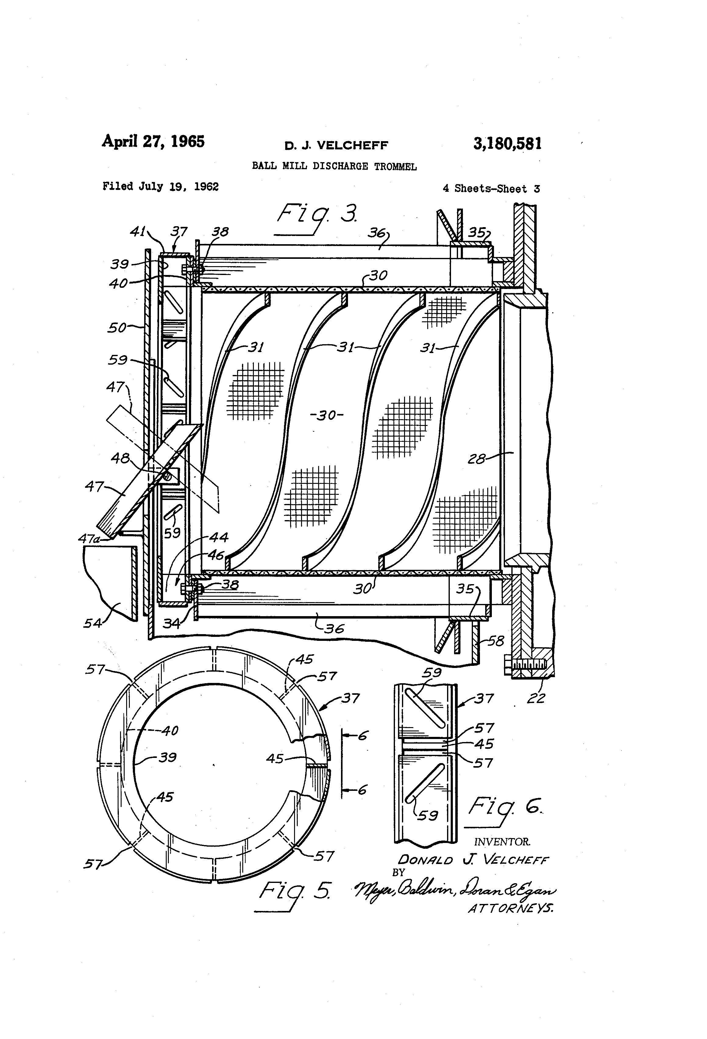patent us3180581 - ball mill discharge trommel