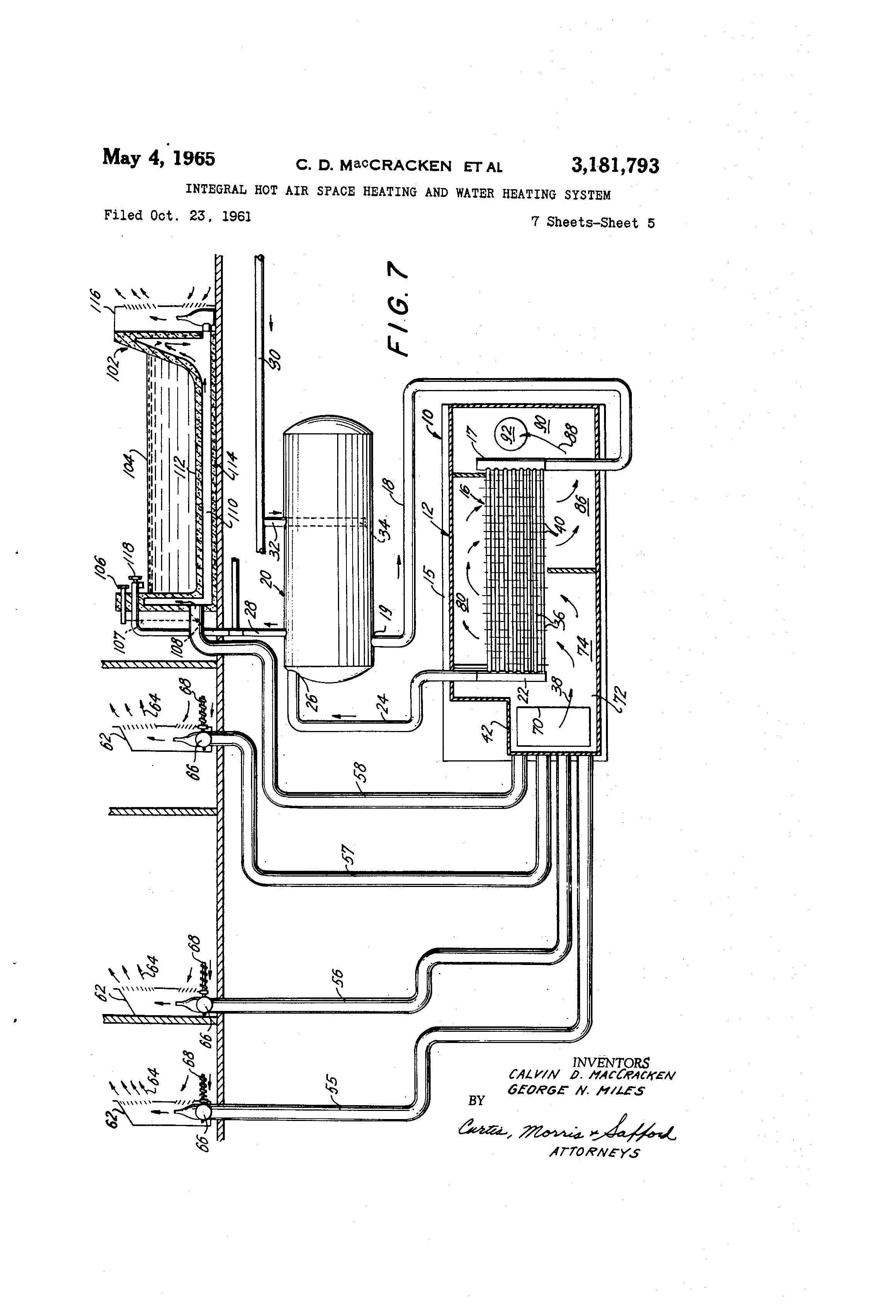 Patent Us3181793 Integral Hot Air Space Heating And