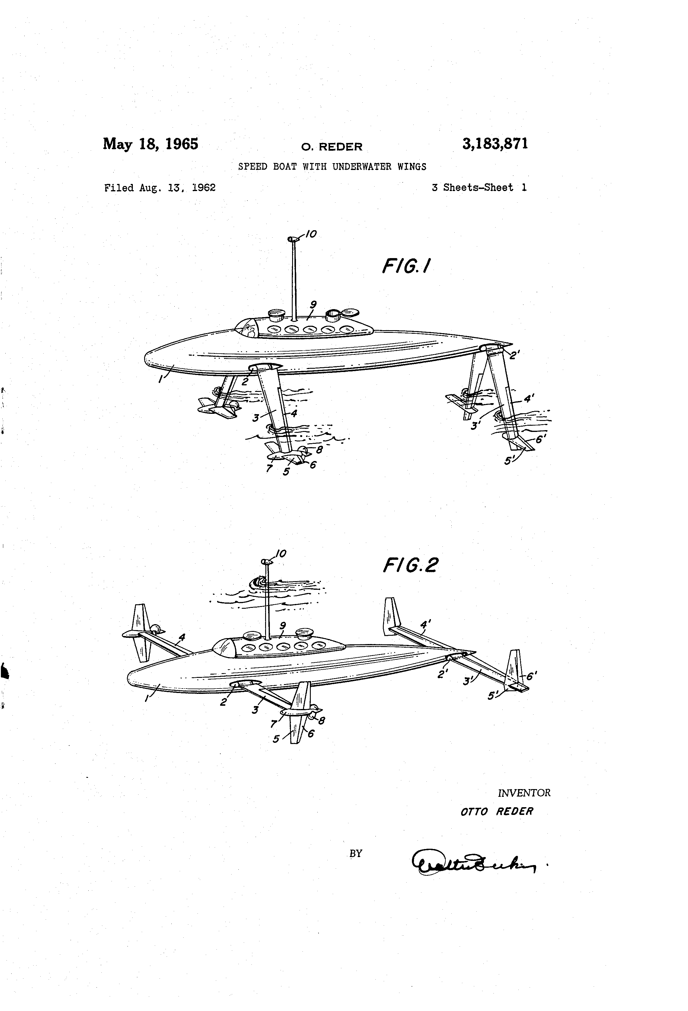 patent us3183871 speed boat with underwater wings google patents