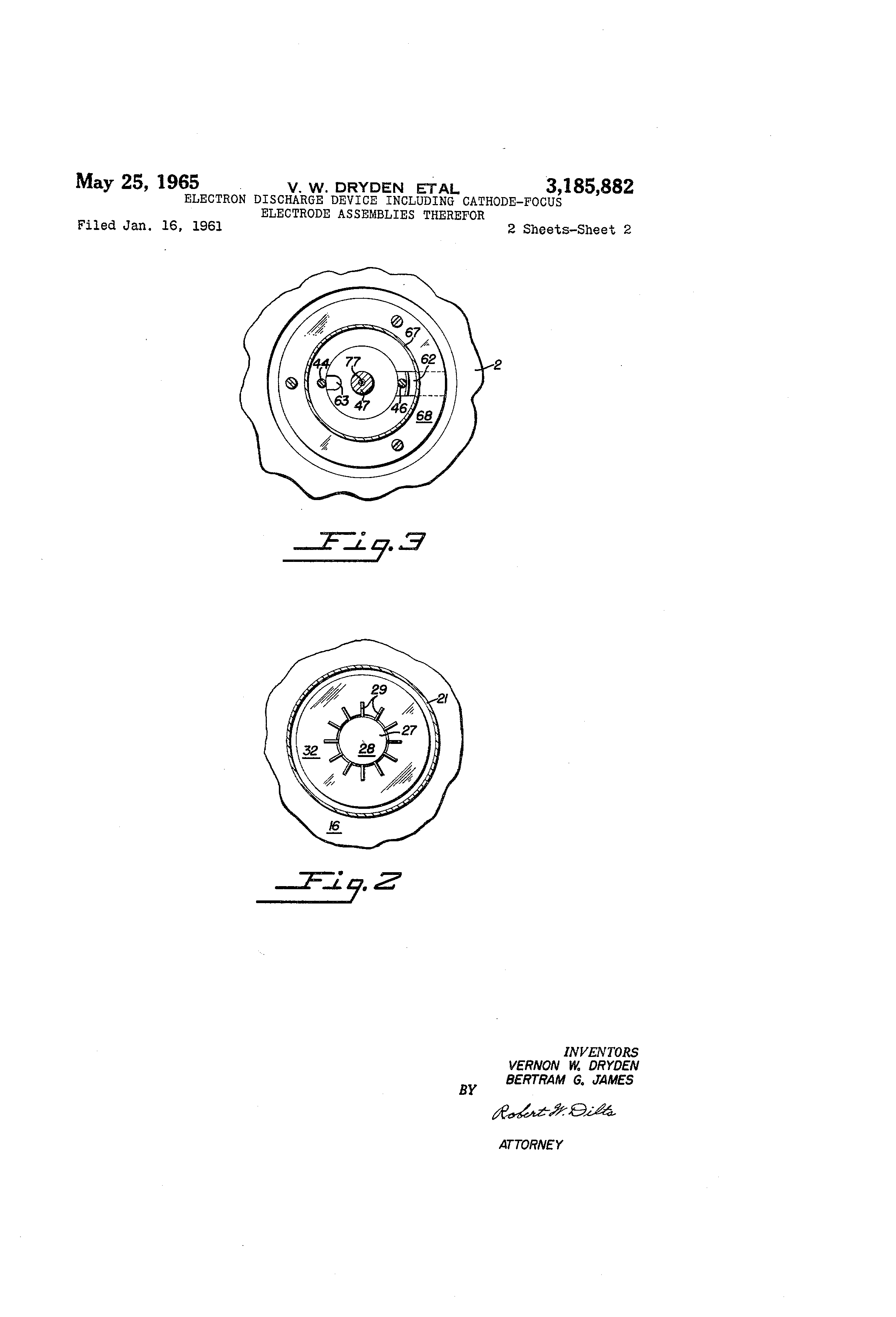 patent us3185882 electron discharge device including cathode focus Oil Electrodes patent drawing