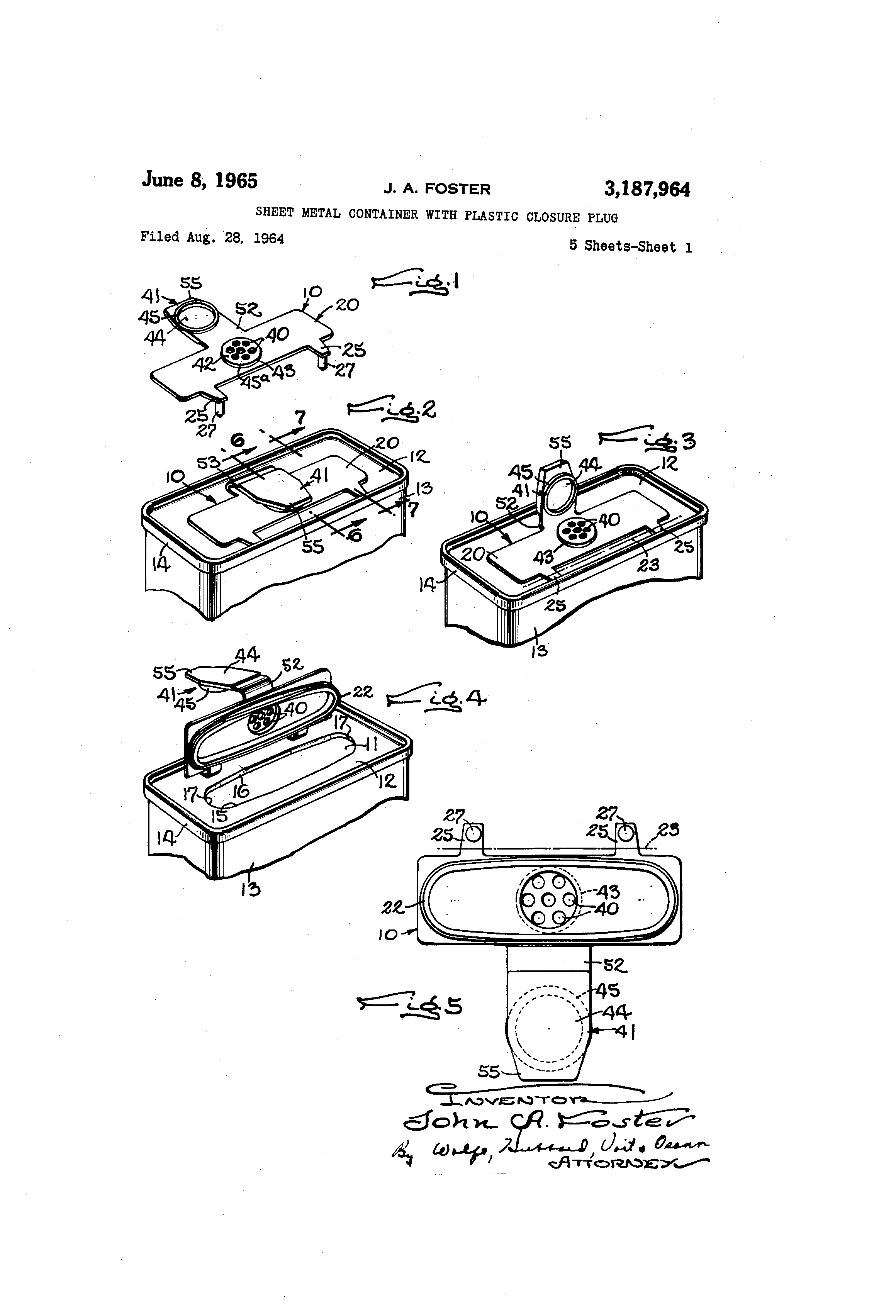 Patent Us3187964 Sheet Metal Container With Plastic